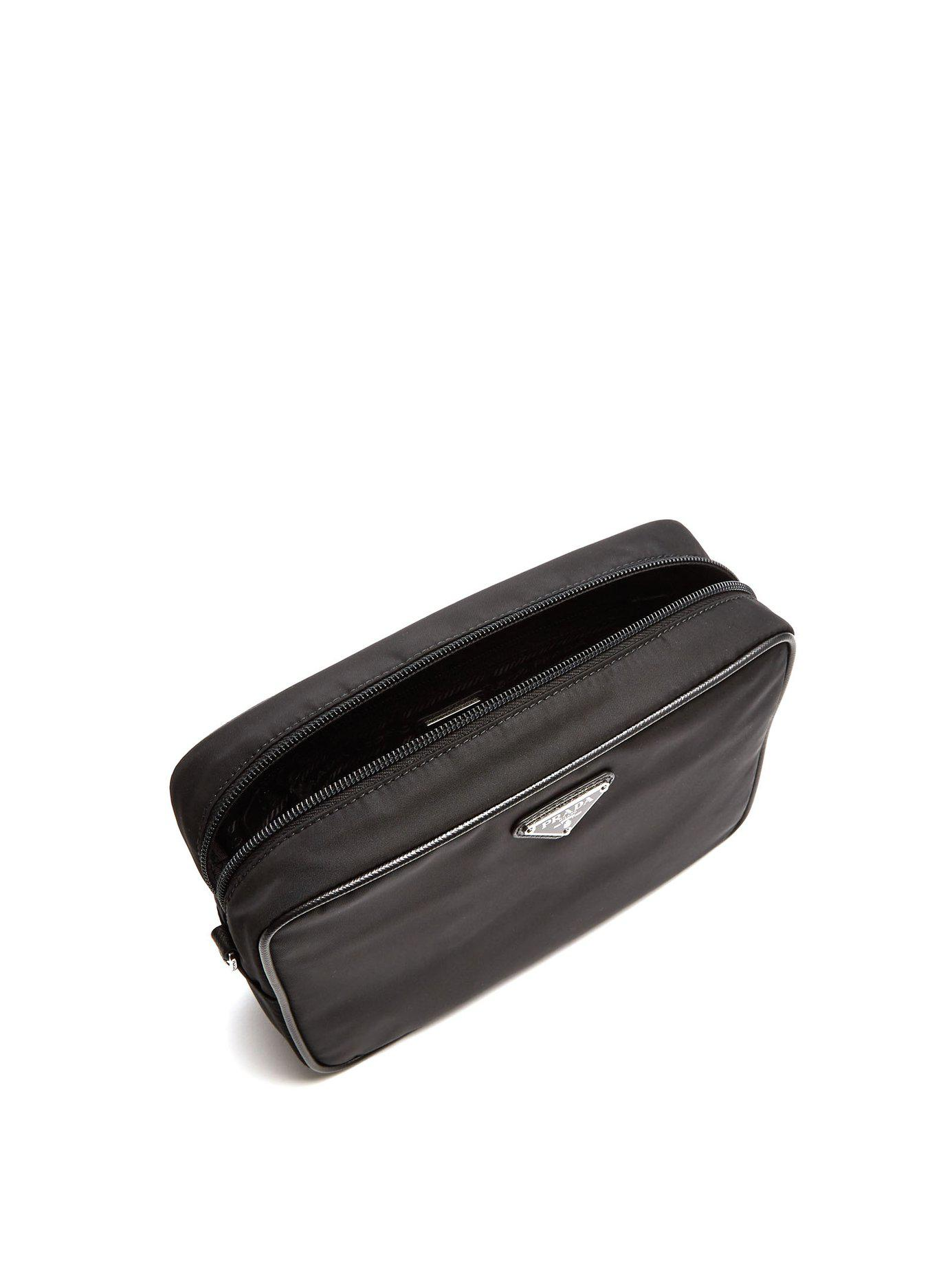 f01edc0f25f1 Prada Leather Trimmed Nylon Wash Bag in Black for Men - Save 34% - Lyst