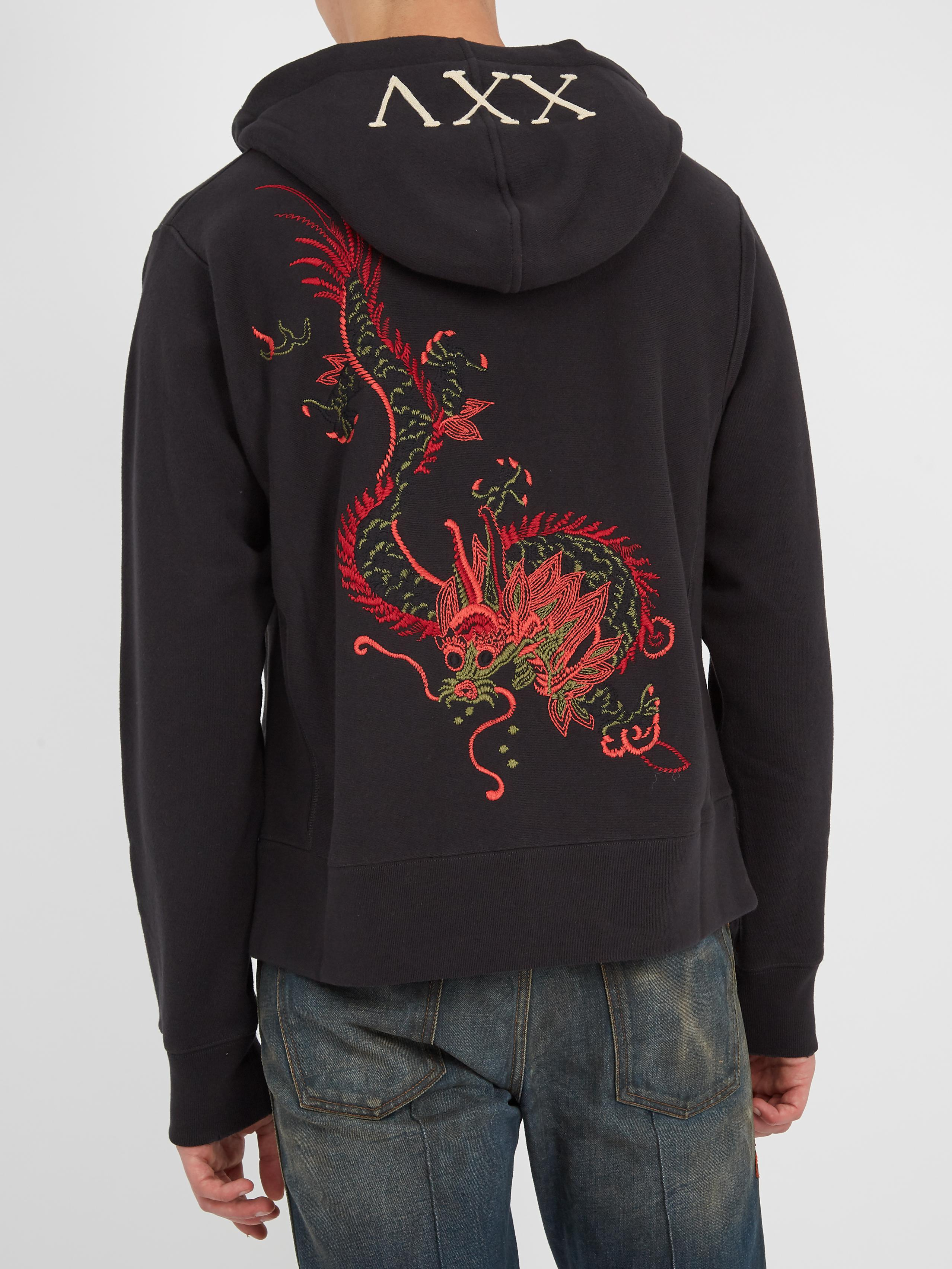 35ceccc343b Lyst - Gucci Dragon-embroidered Hooded Sweatshirt in Black for Men