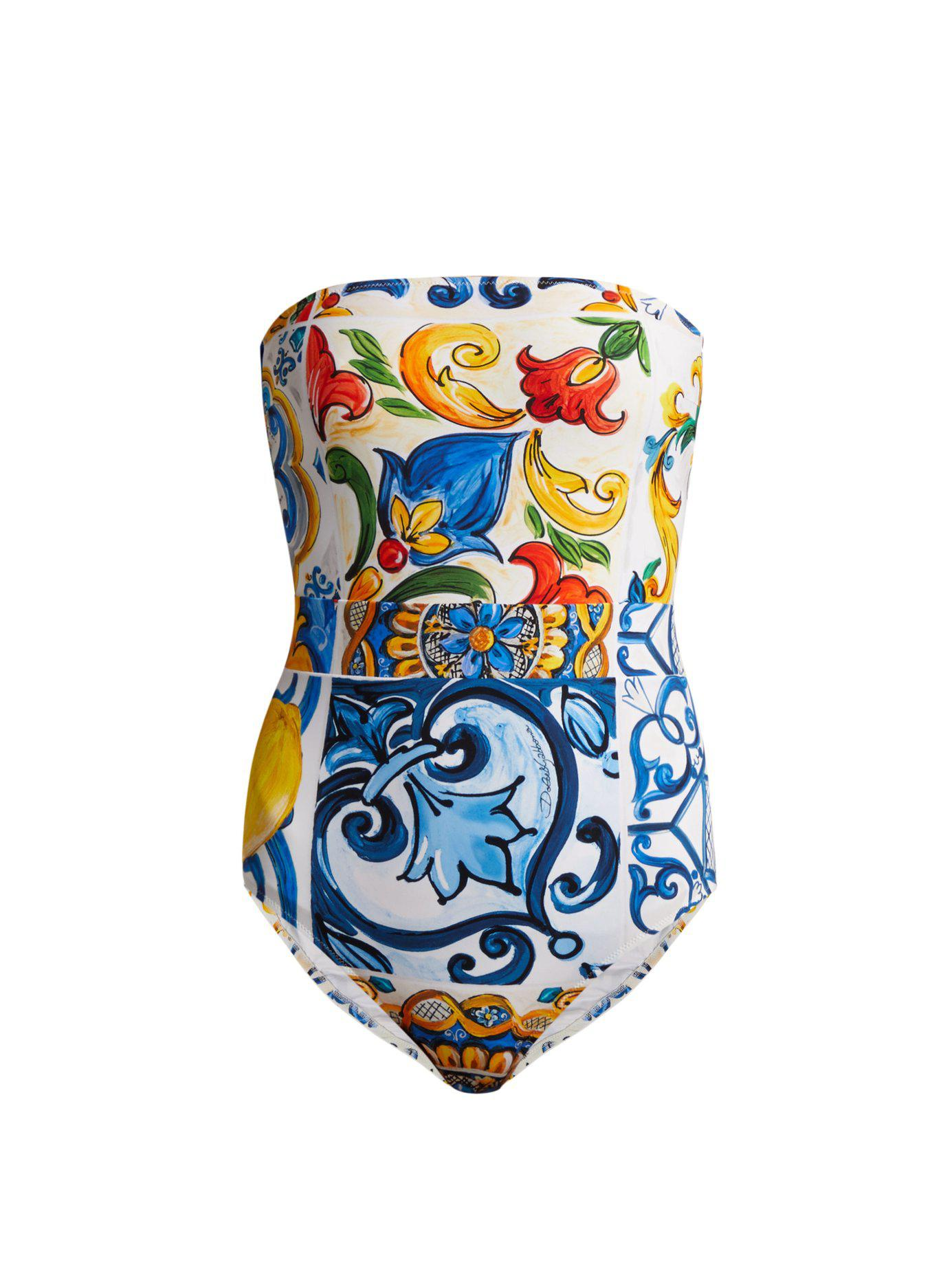 120d725efc451c Lyst - Dolce & Gabbana Maiolica Cutout Printed Bandeau Swimsuit in Blue