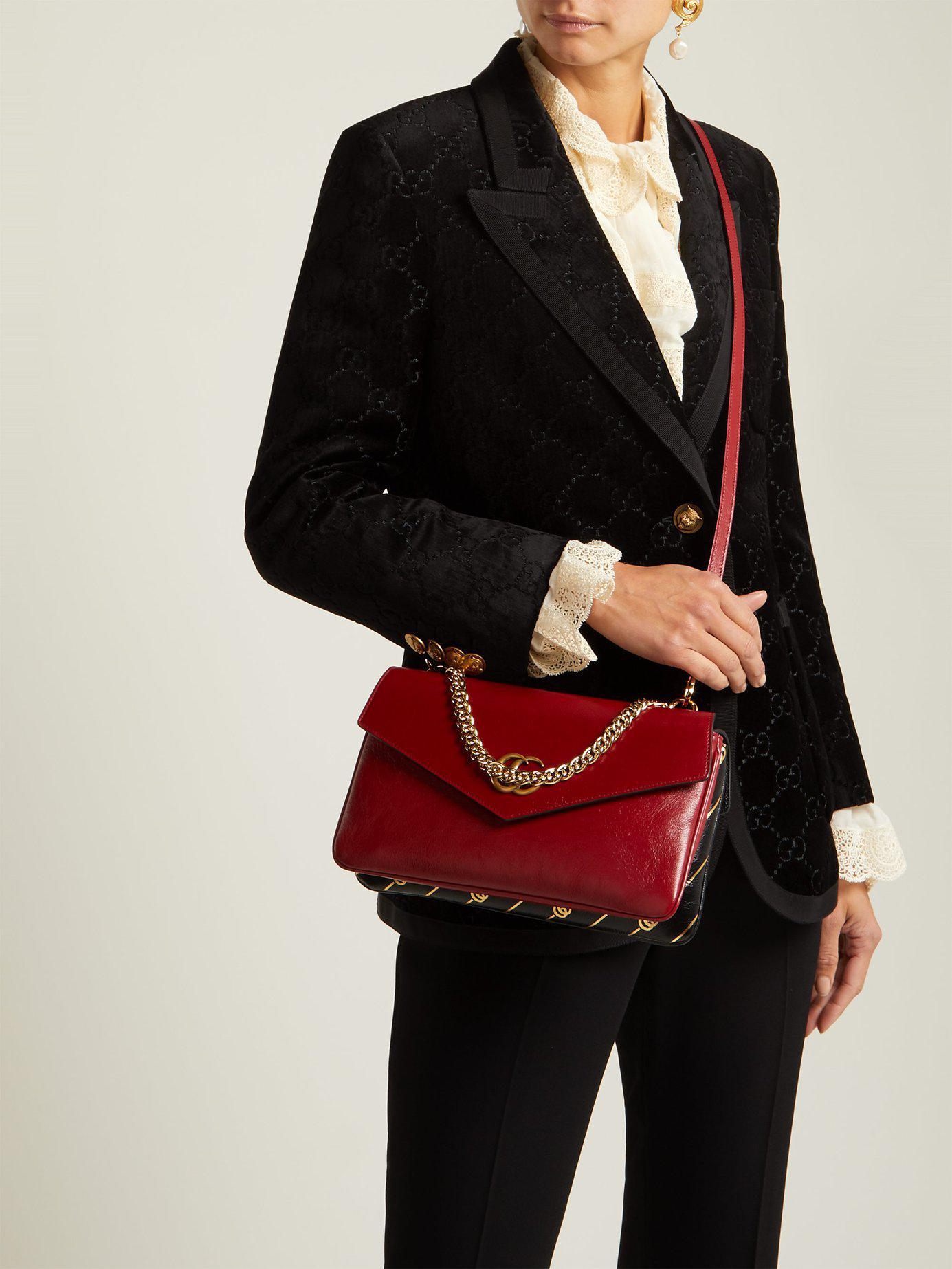 7351f636a41f Lyst - Gucci Thiara Gg Leather Shoulder Bag in Red