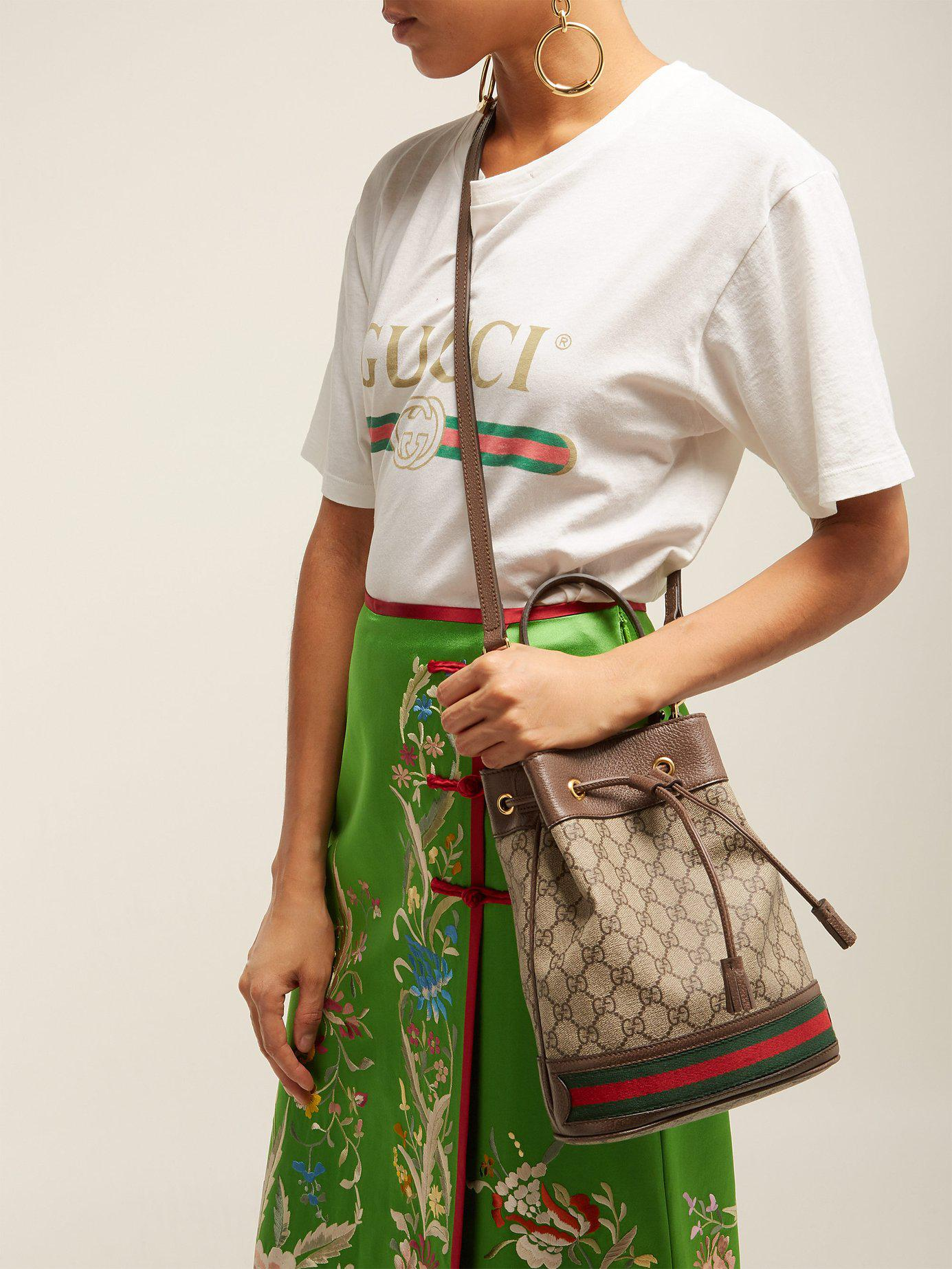 9f0492fdf Gucci Ophidia Gg Supreme Leather Bucket Bag - Lyst