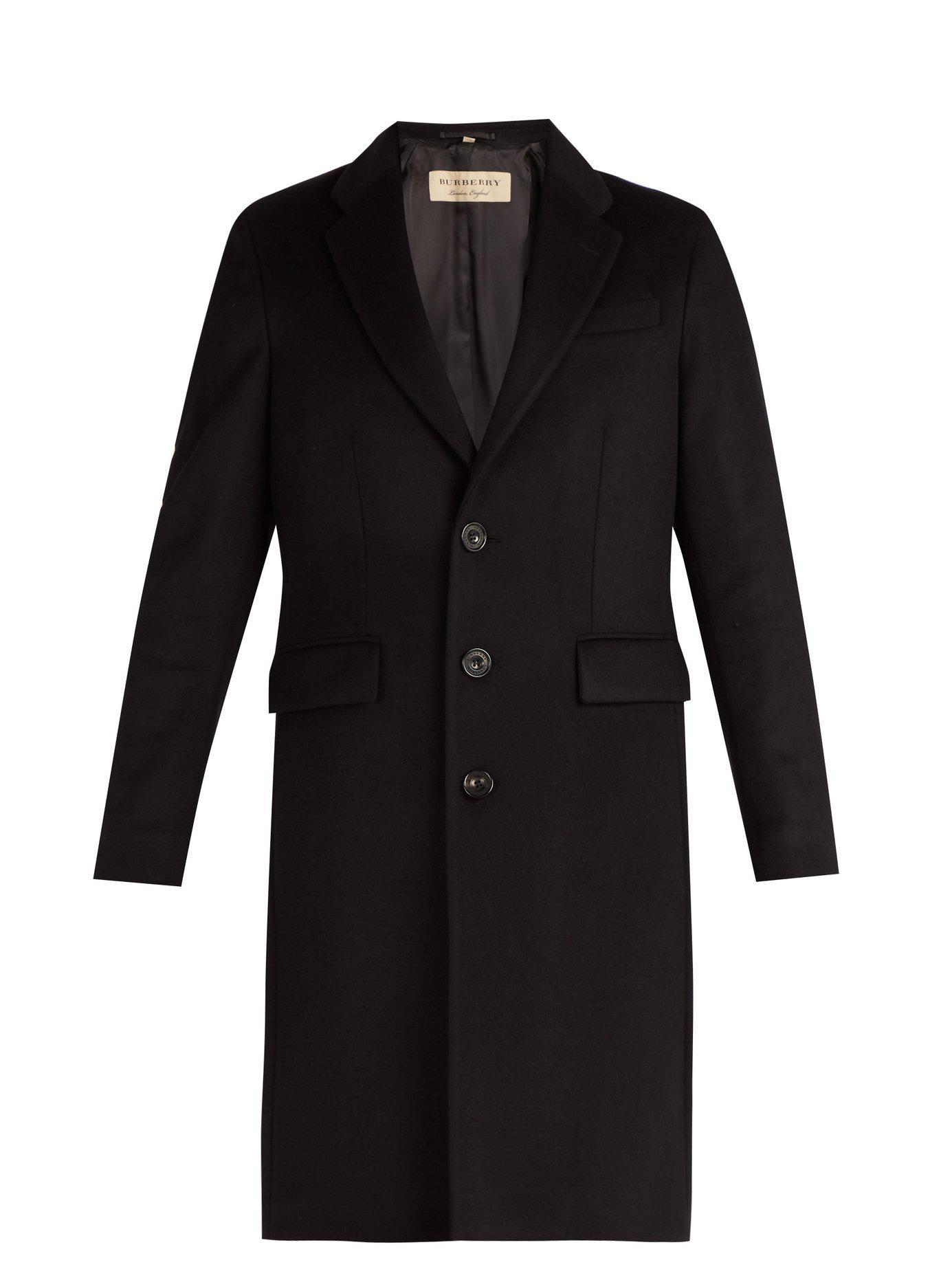 Lyst - Pardessus en laine et cachemire à boutonnage simple Burberry ... 56fd0b6f01d