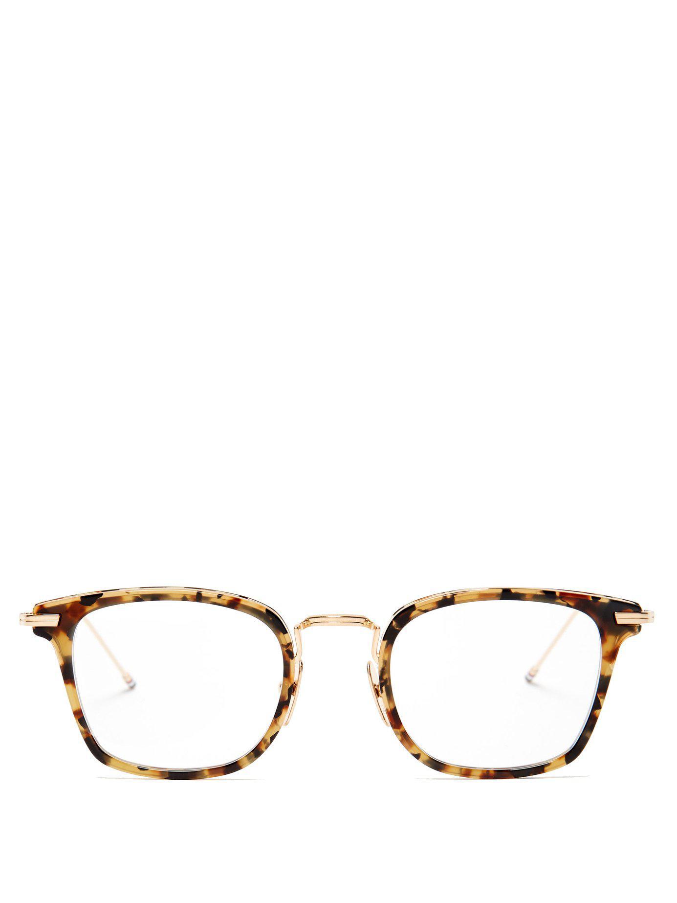 8cb266db6baa Thom Browne. Men s Brown D Frame Tortoiseshell Acetate And Metal Glasses
