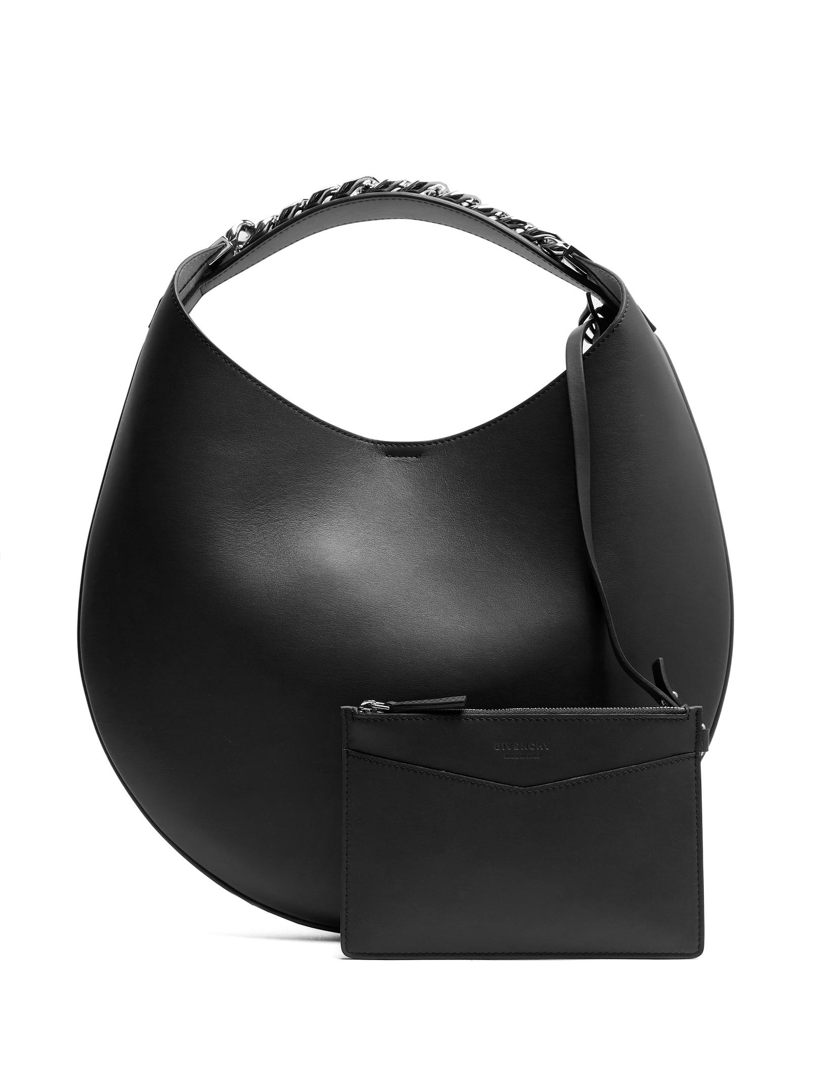 551f880c9881 Lyst - Givenchy Infinity Small Leather Chain Hobo Bag in Black
