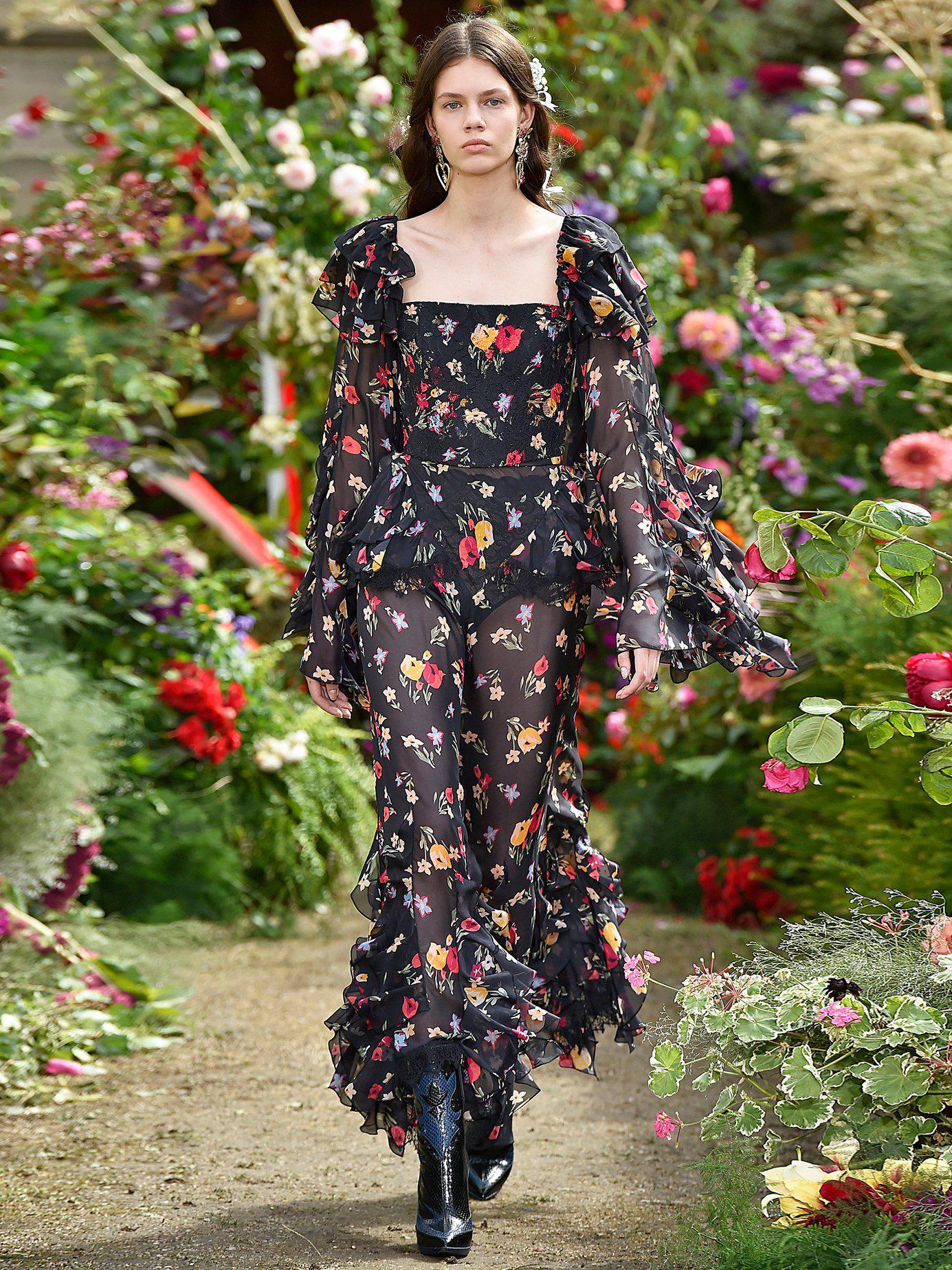 cd136112a03666 Lyst - Rodarte Square Neck Floral Print Silk Blend Blouse in Black