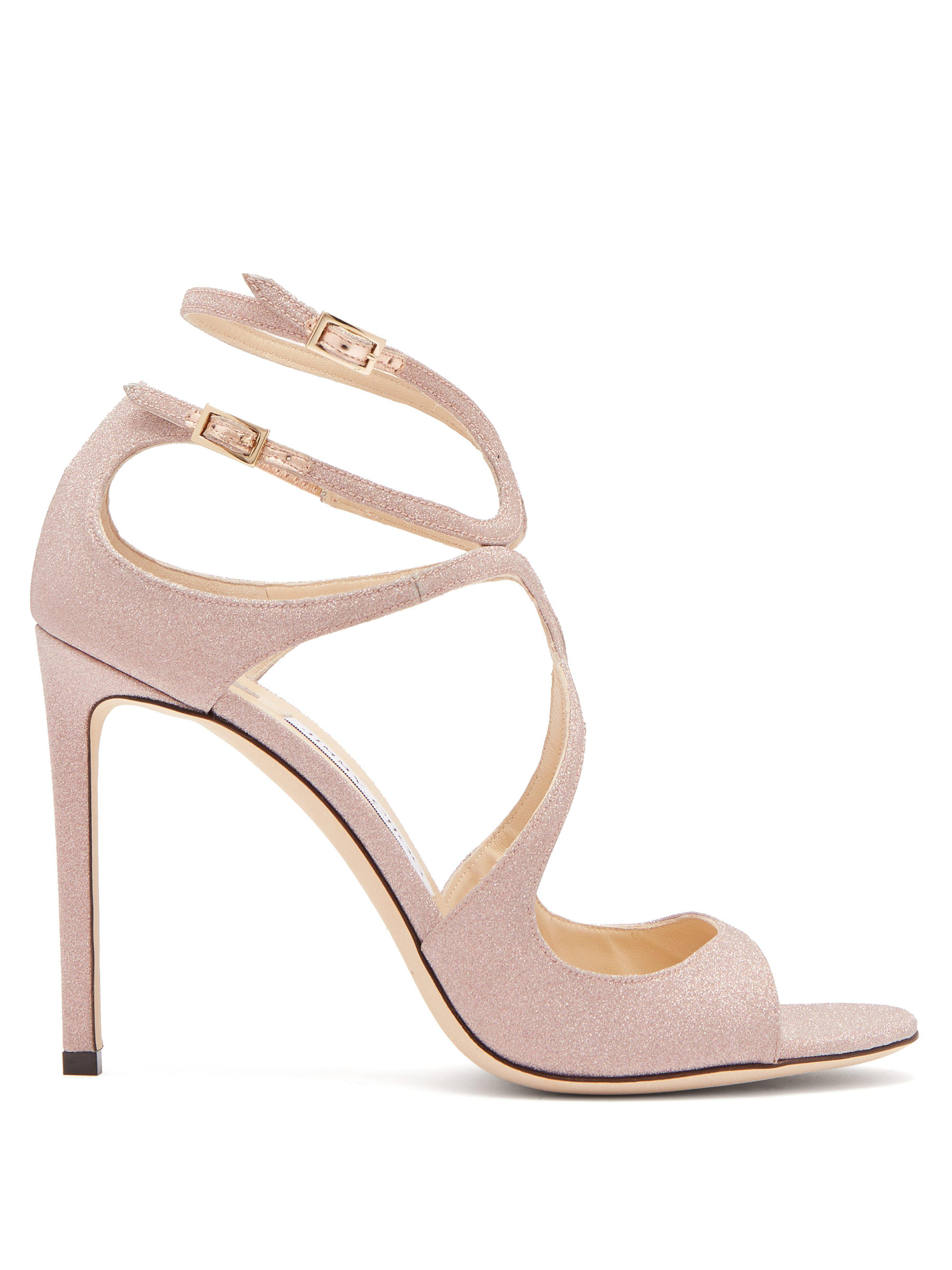 2512a457a4b7 Jimmy Choo Lang 100 Glitter Covered Leather Sandals in Pink - Lyst