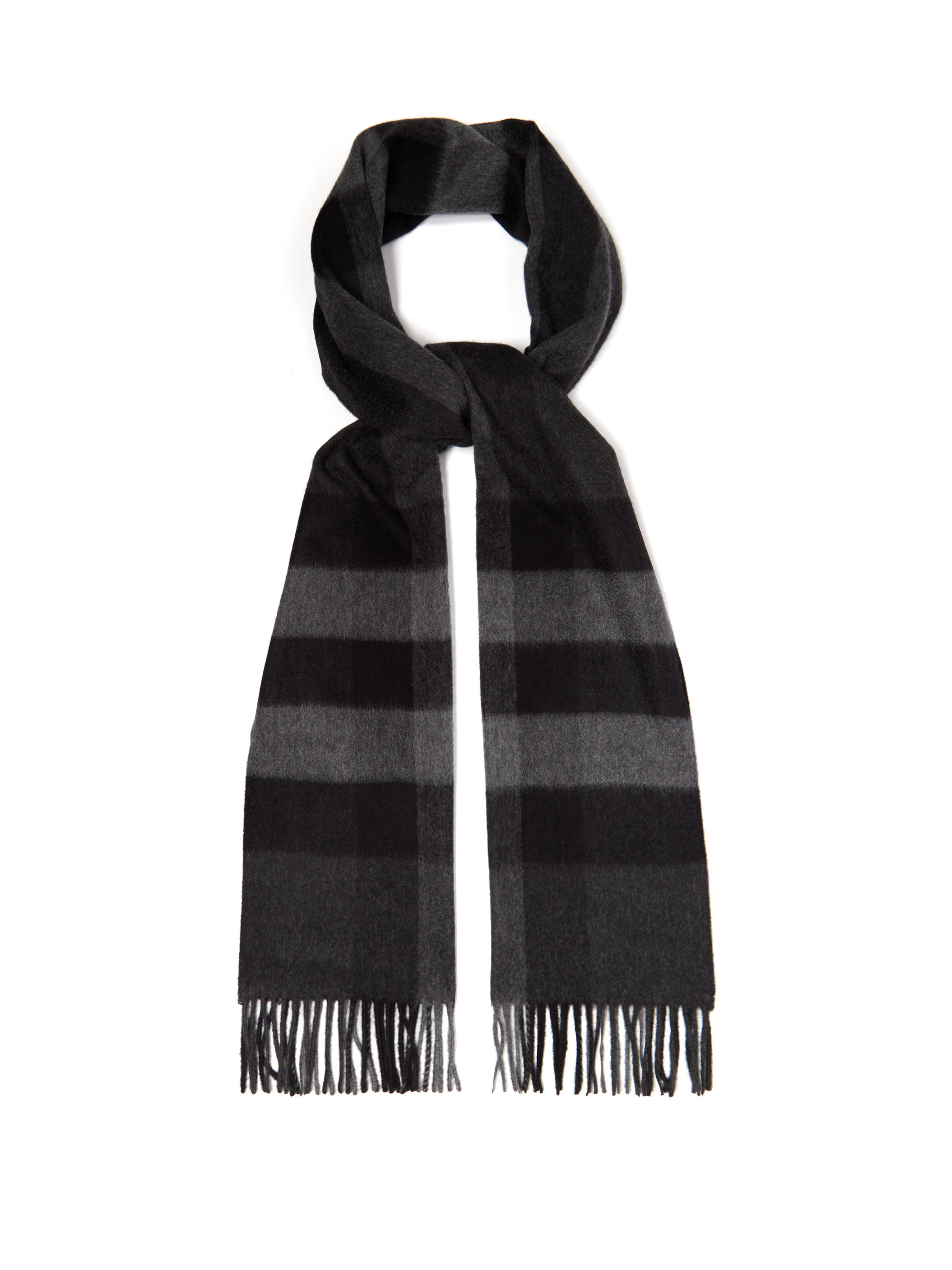 aa7ab7812583 Burberry Half Mega Check Cashmere Scarf in Gray for Men - Lyst
