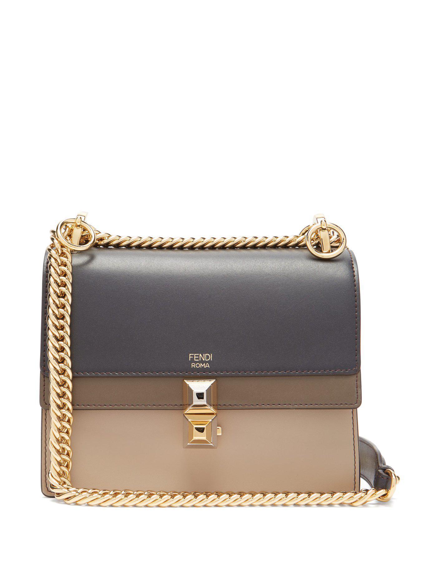 Fendi. Women s Kan I Stripe Small Leather Cross Body Bag 758c9c41d5ce6