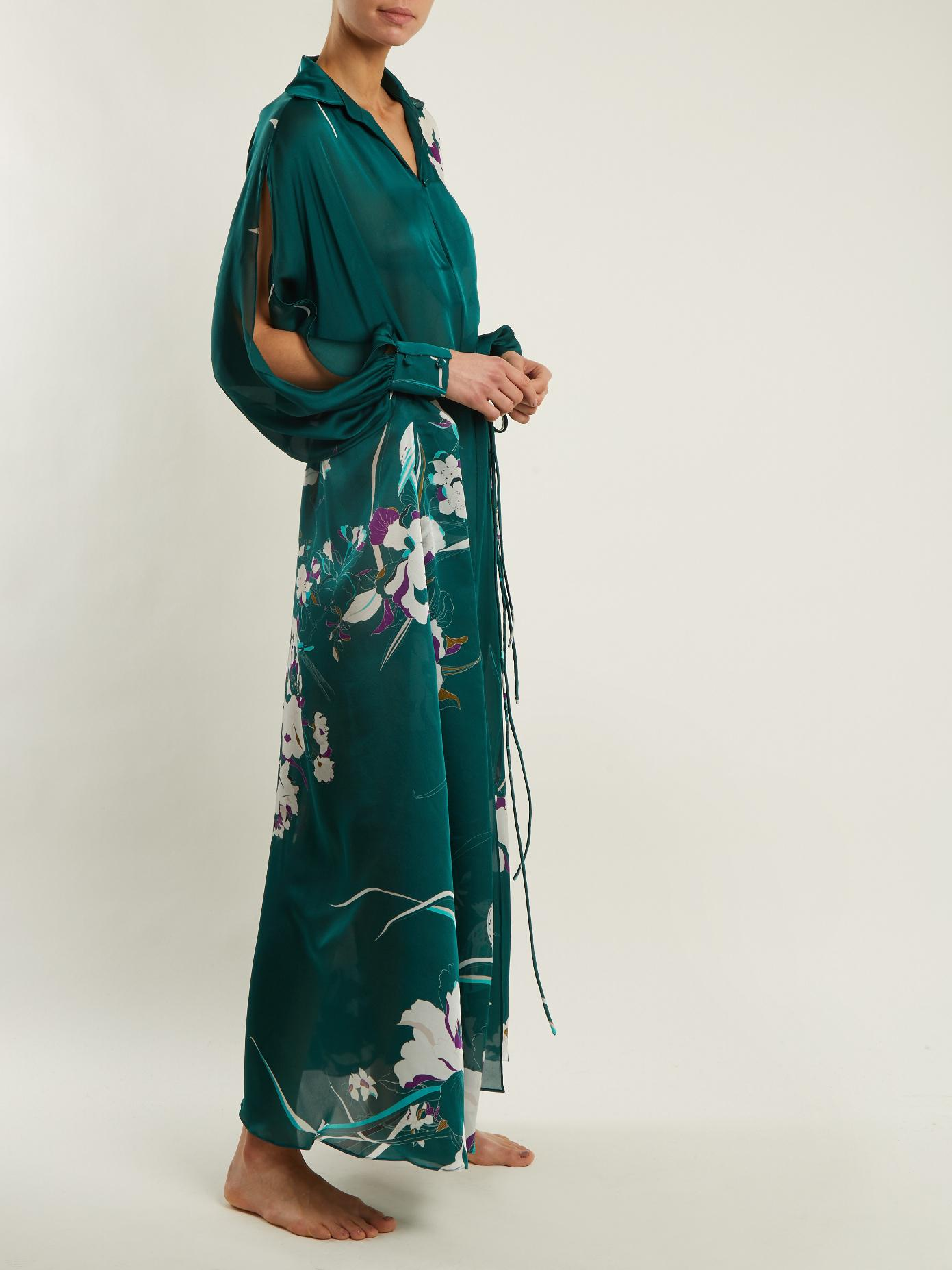 Outlet Countdown Package Cheap Price Outlet Floral-print silk-satin kaftan Carine Gilson XEjD7