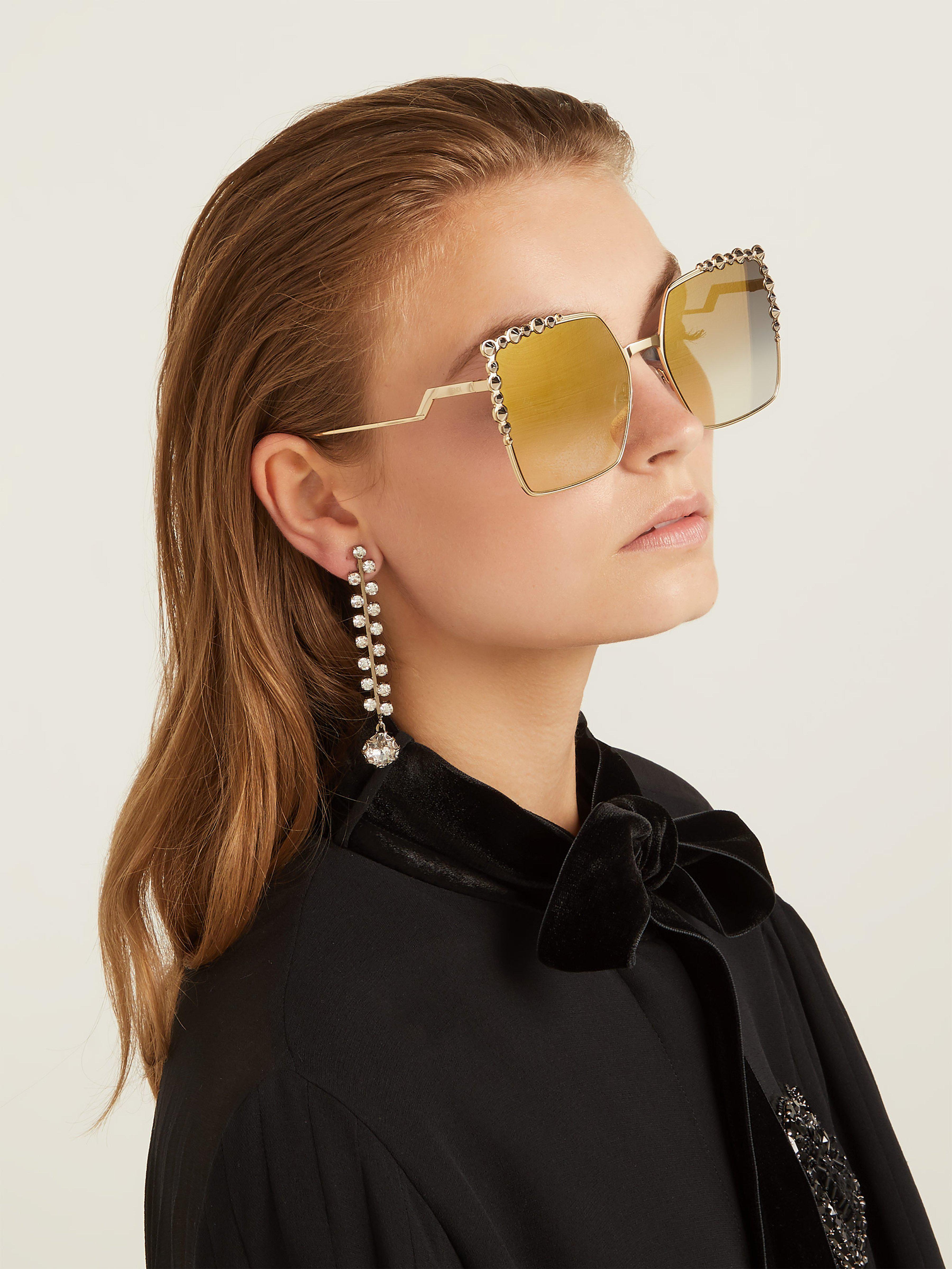 e294687541a75 Fendi Square-frame Embellished Sunglasses - Lyst