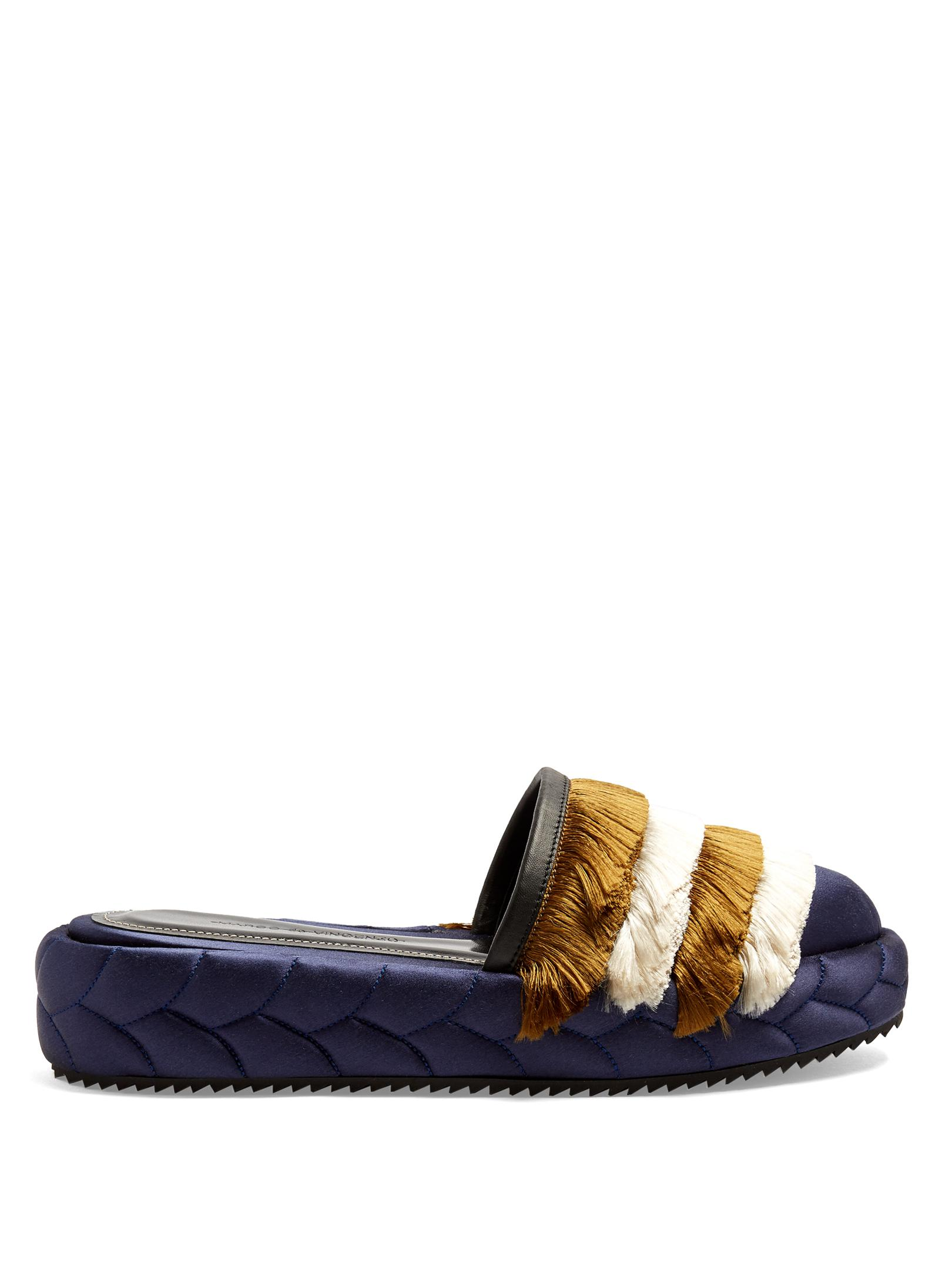 quilted fringed mules - Green Marco De Vincenzo F2wAy5j77X