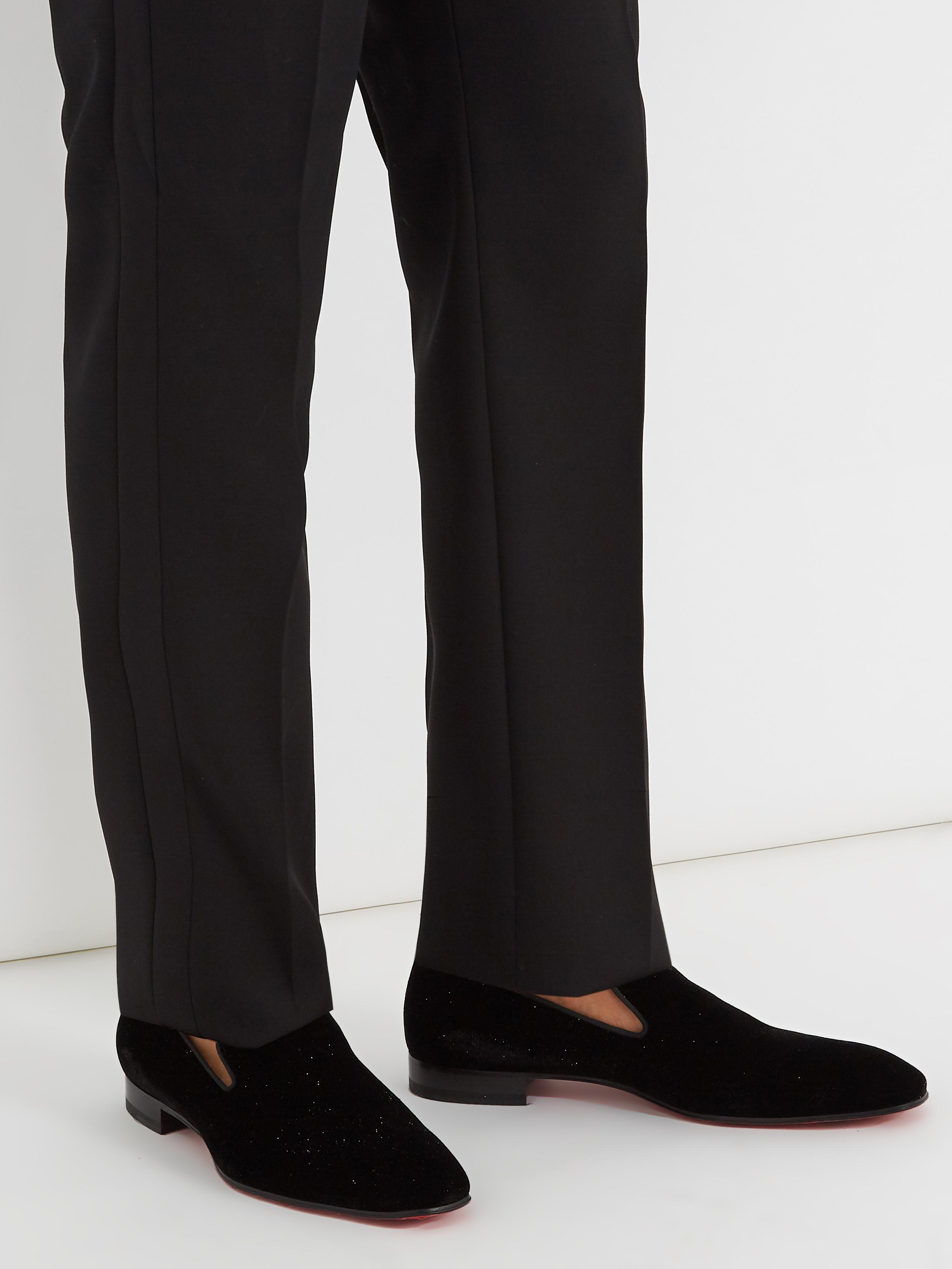 2657c3250c6 Christian Louboutin Dandelion Glittered-velvet Loafers in Black for ...