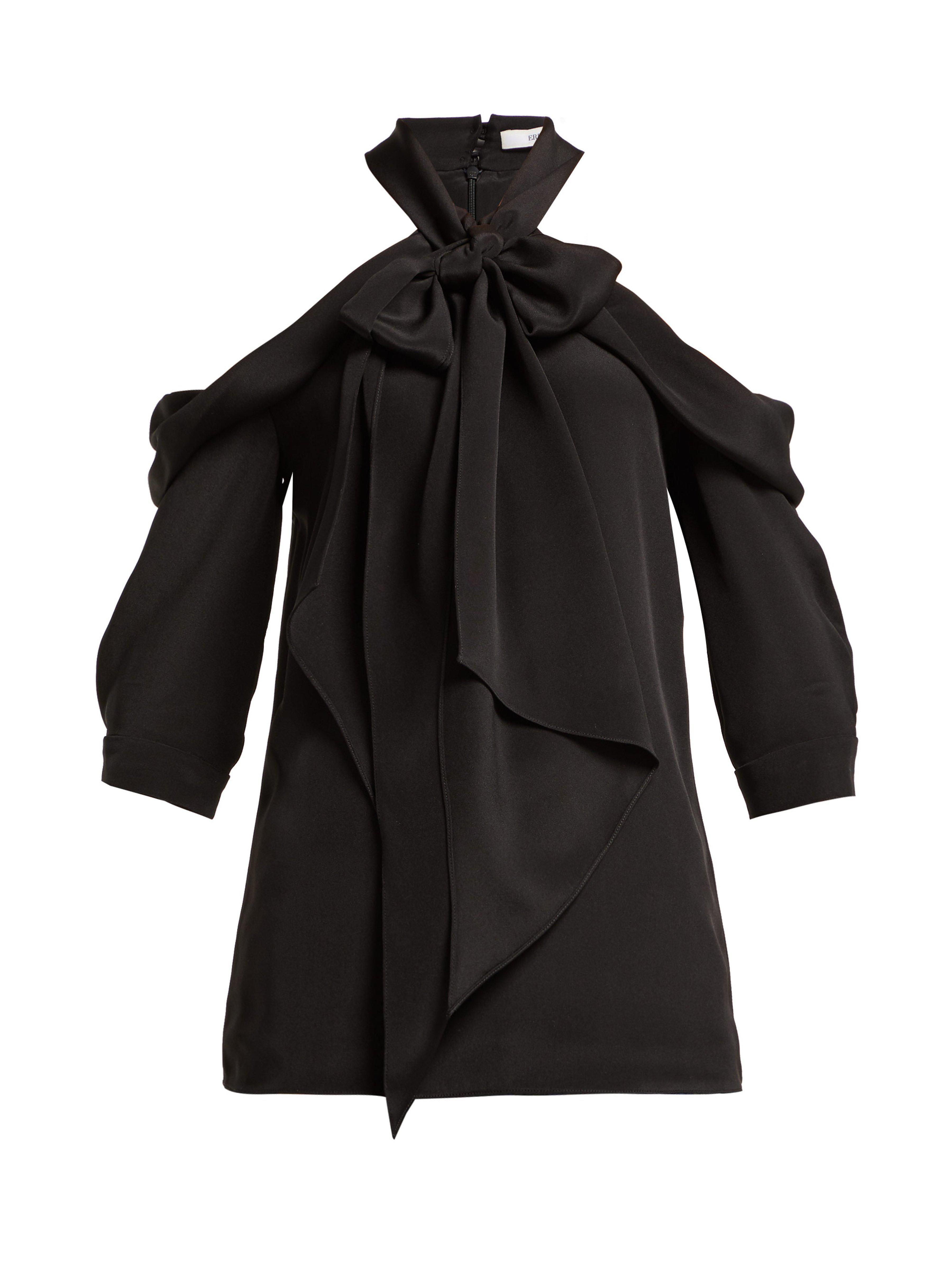 65ccc7413a9c7 Erdem Elin Pussy Bow Silk Top in Black - Lyst
