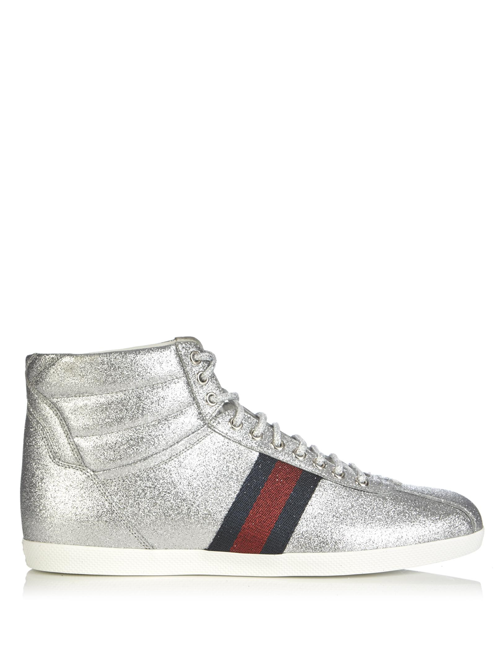 f5b9ef6406e Lyst - Gucci Bambi Glitter High-top Trainers in Metallic for Men
