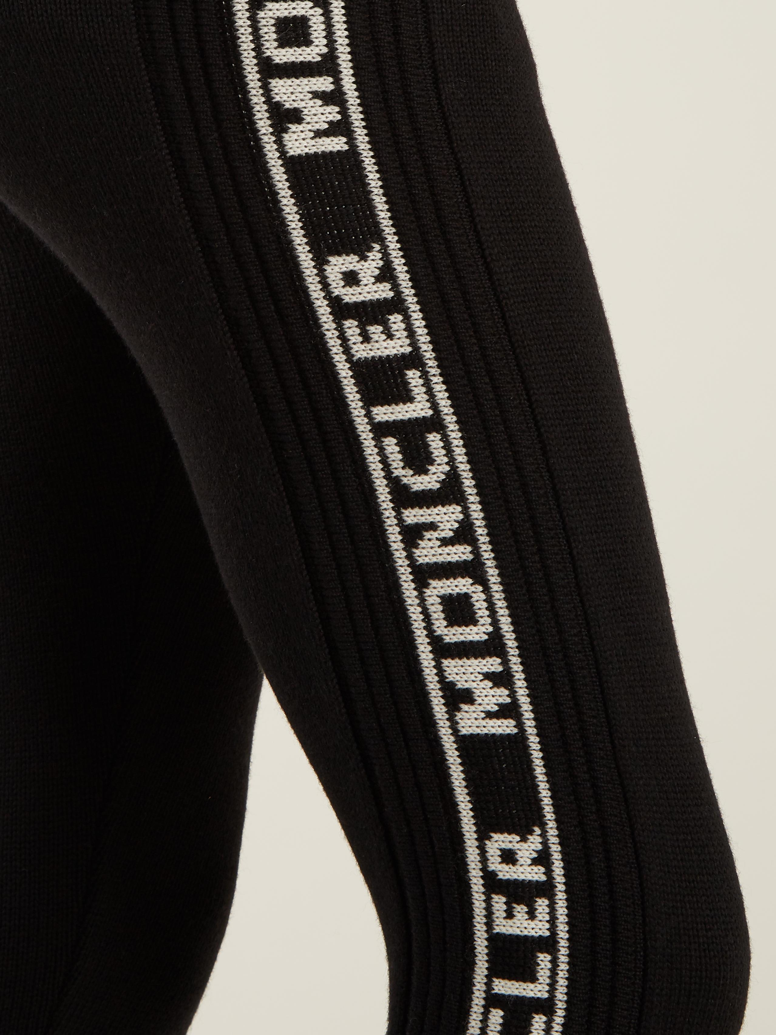 b0f23363434e0 Moncler Logo-intarsia Wool Leggings in Black - Lyst