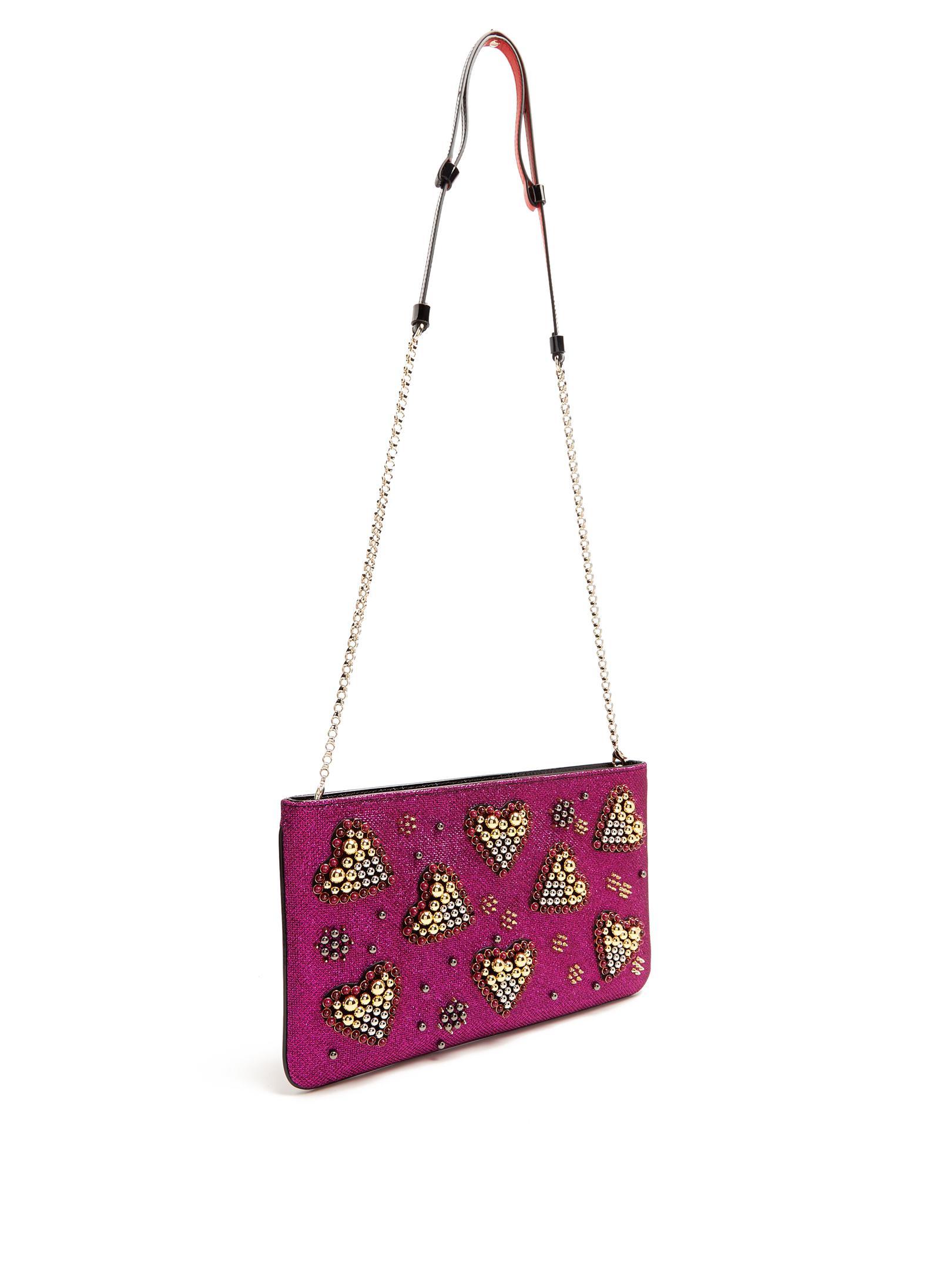 0b0f02857eb Lyst - Christian Louboutin Loubiposh Spike-embellished Glitter Pouch