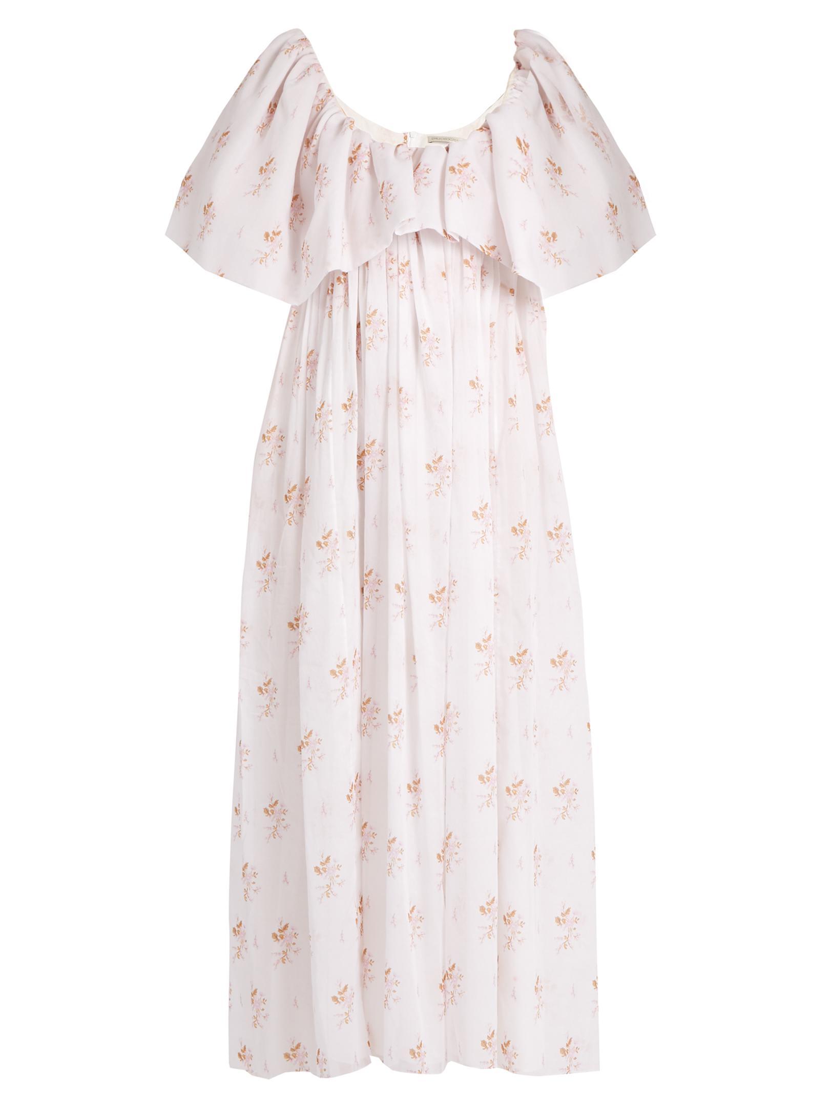 58f8702ad3d Lyst - Emilia Wickstead Fede Floral-print Empire-waist Cotton Dress ...