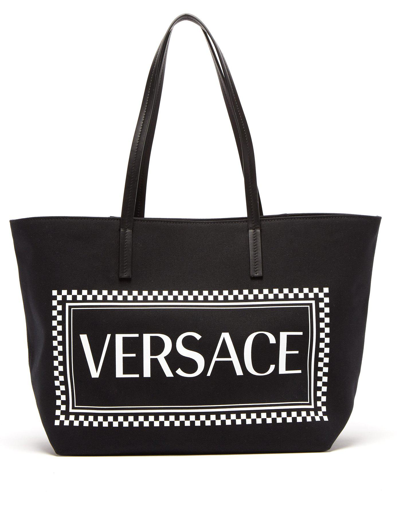 00fd8c369cf8 Versace - Black Logo Print Canvas Tote for Men - Lyst. View fullscreen