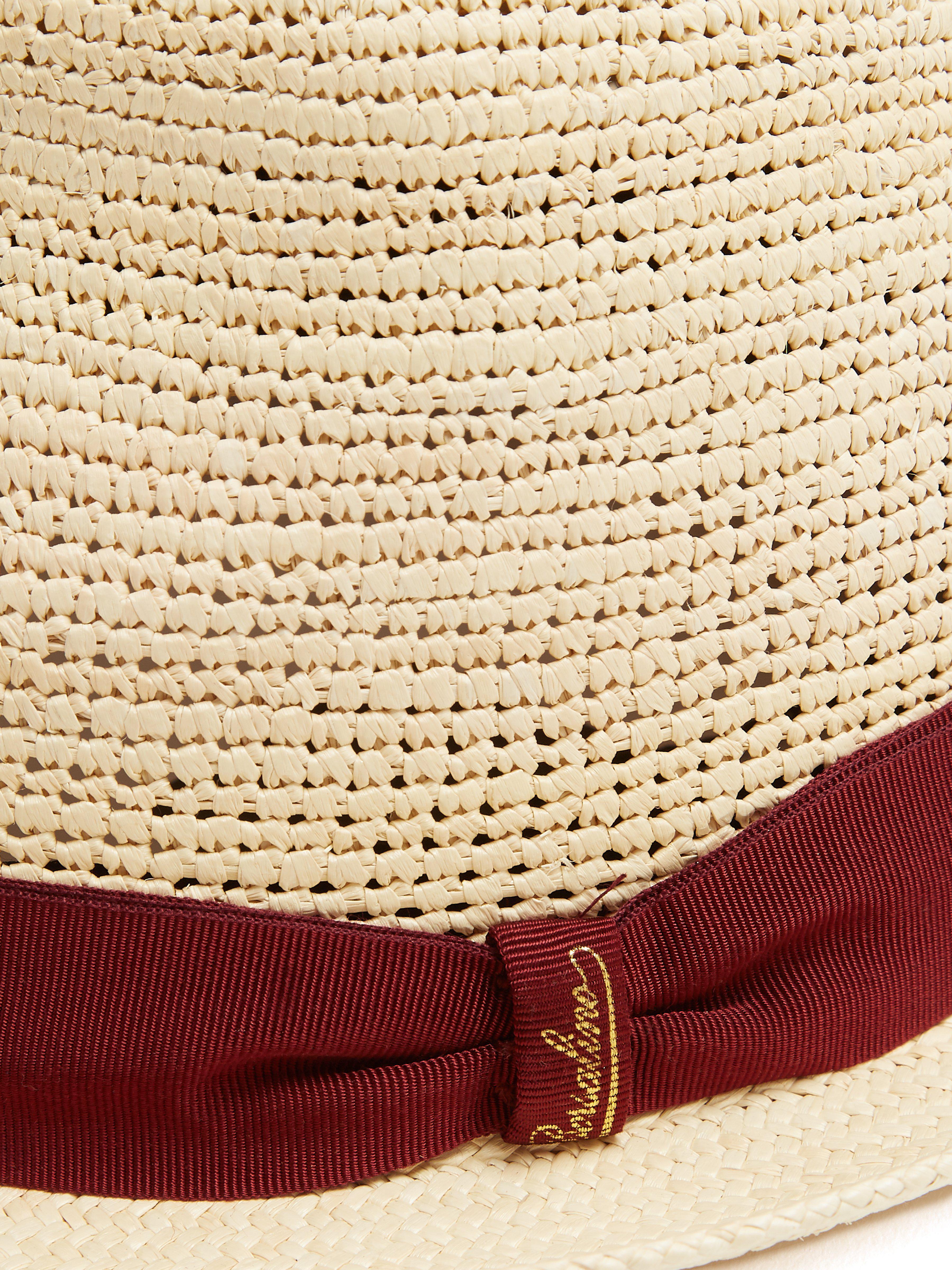 b32d7e9a Borsalino - Natural Panama Woven And Crochet Straw Hat for Men - Lyst. View  fullscreen