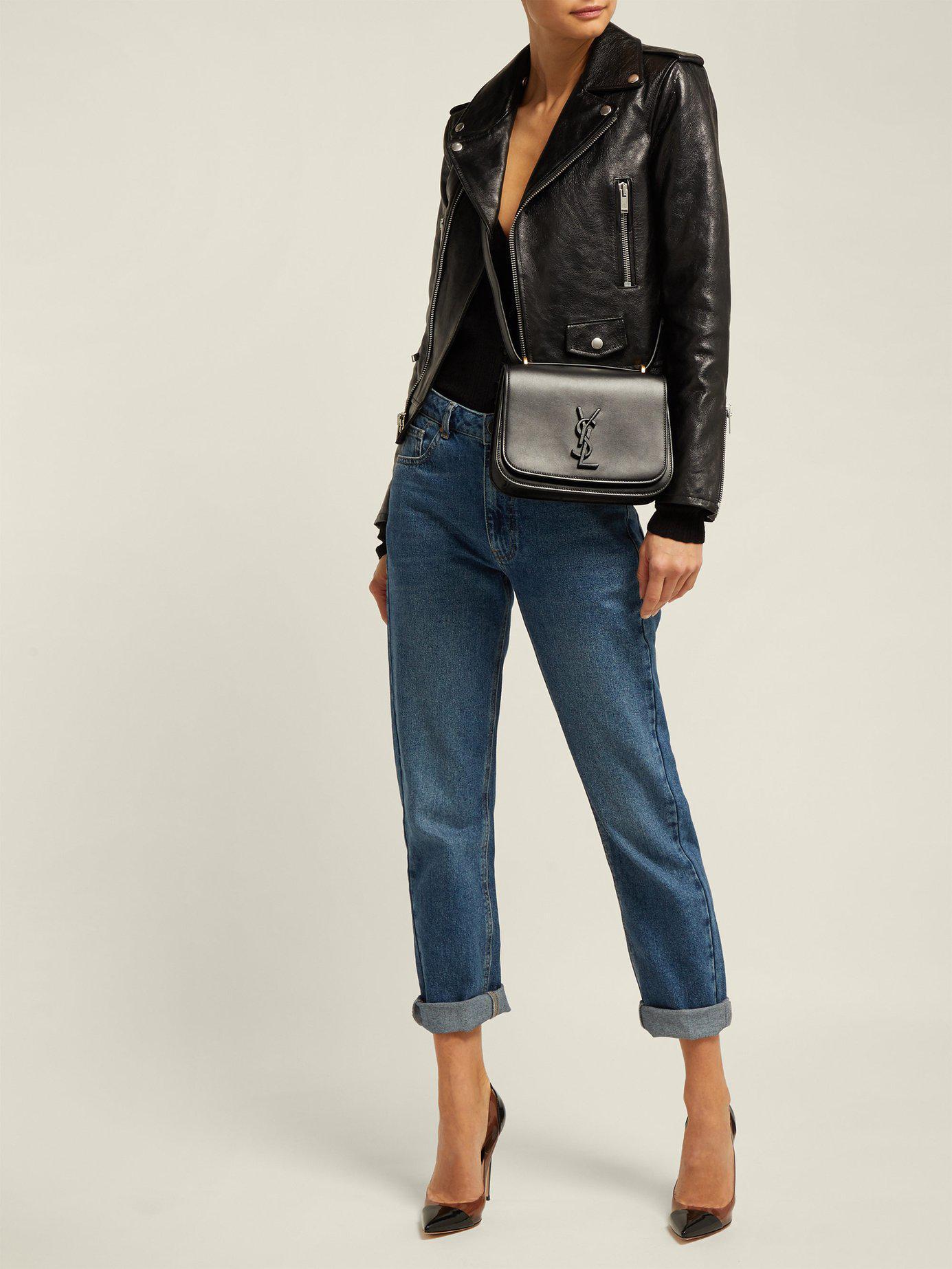 cbf6c5472ad Saint Laurent Spontini Small Leather Cross Body Bag in Black - Lyst