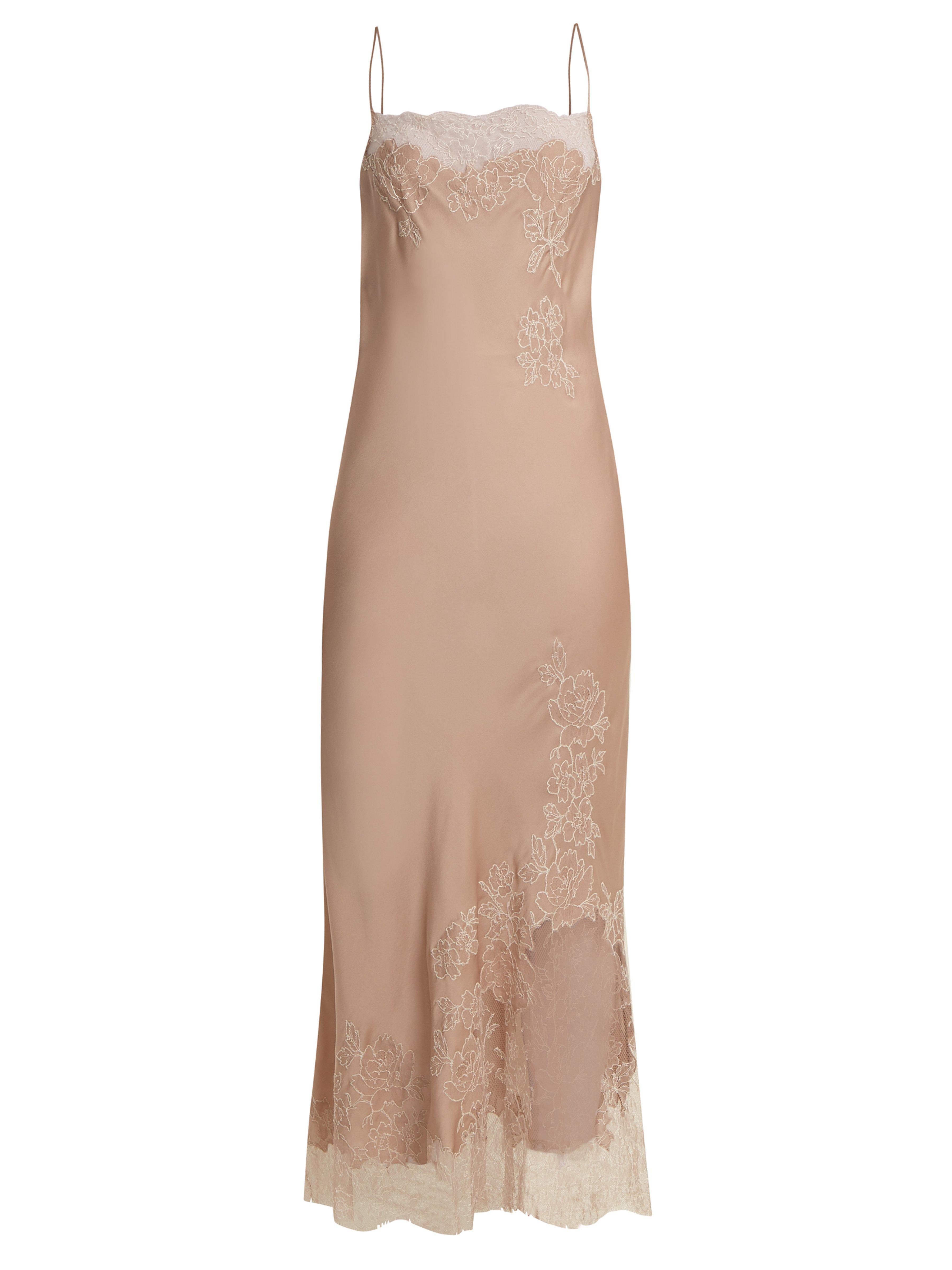 17b7f59f4c7c Carine Gilson Lace Trimmed Silk Satin Cami Maxi Dress in Natural - Lyst