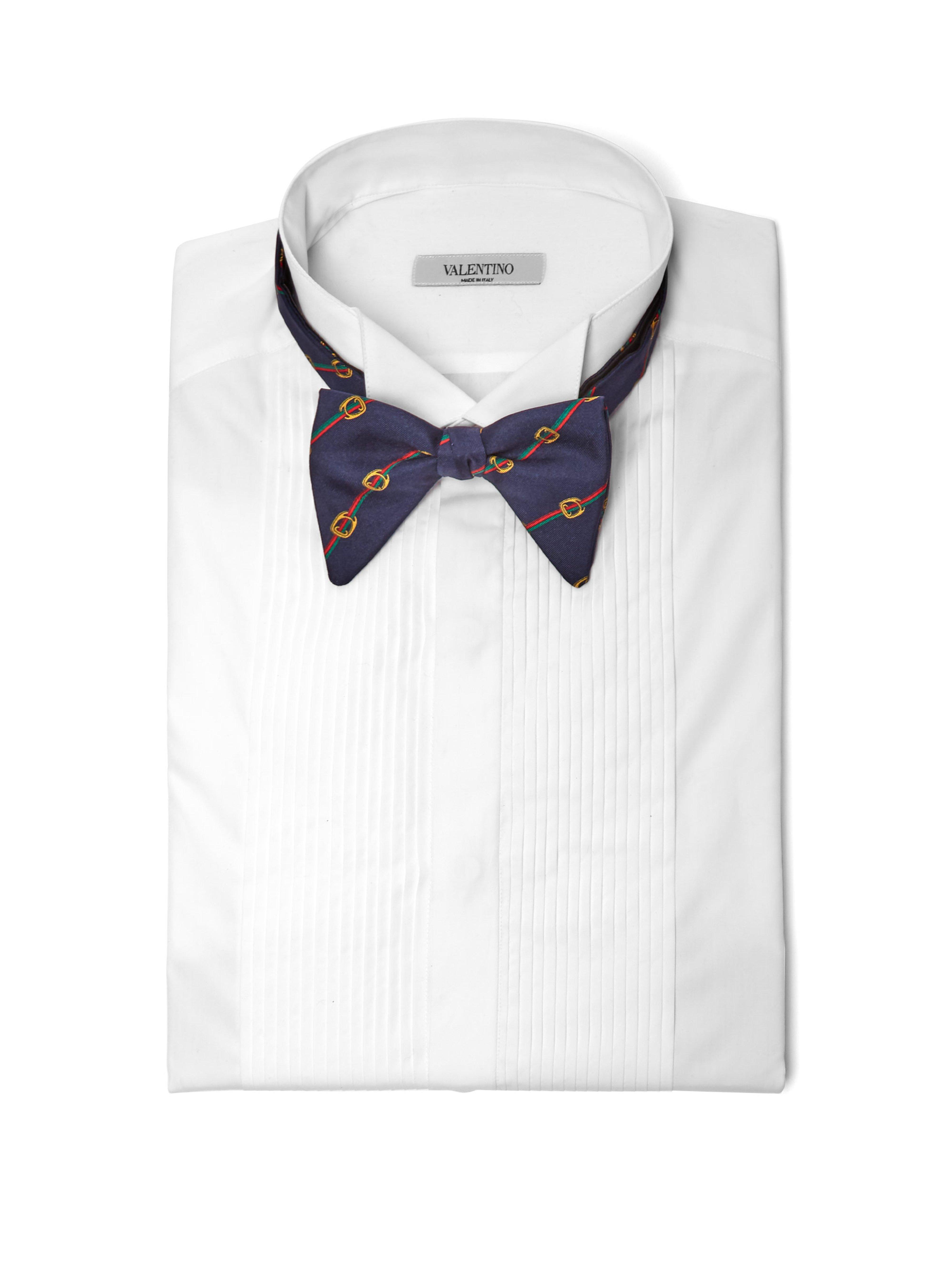 a5369bc6095 Gucci Horsebit Print Silk Twill Bow Tie in Blue for Men - Lyst