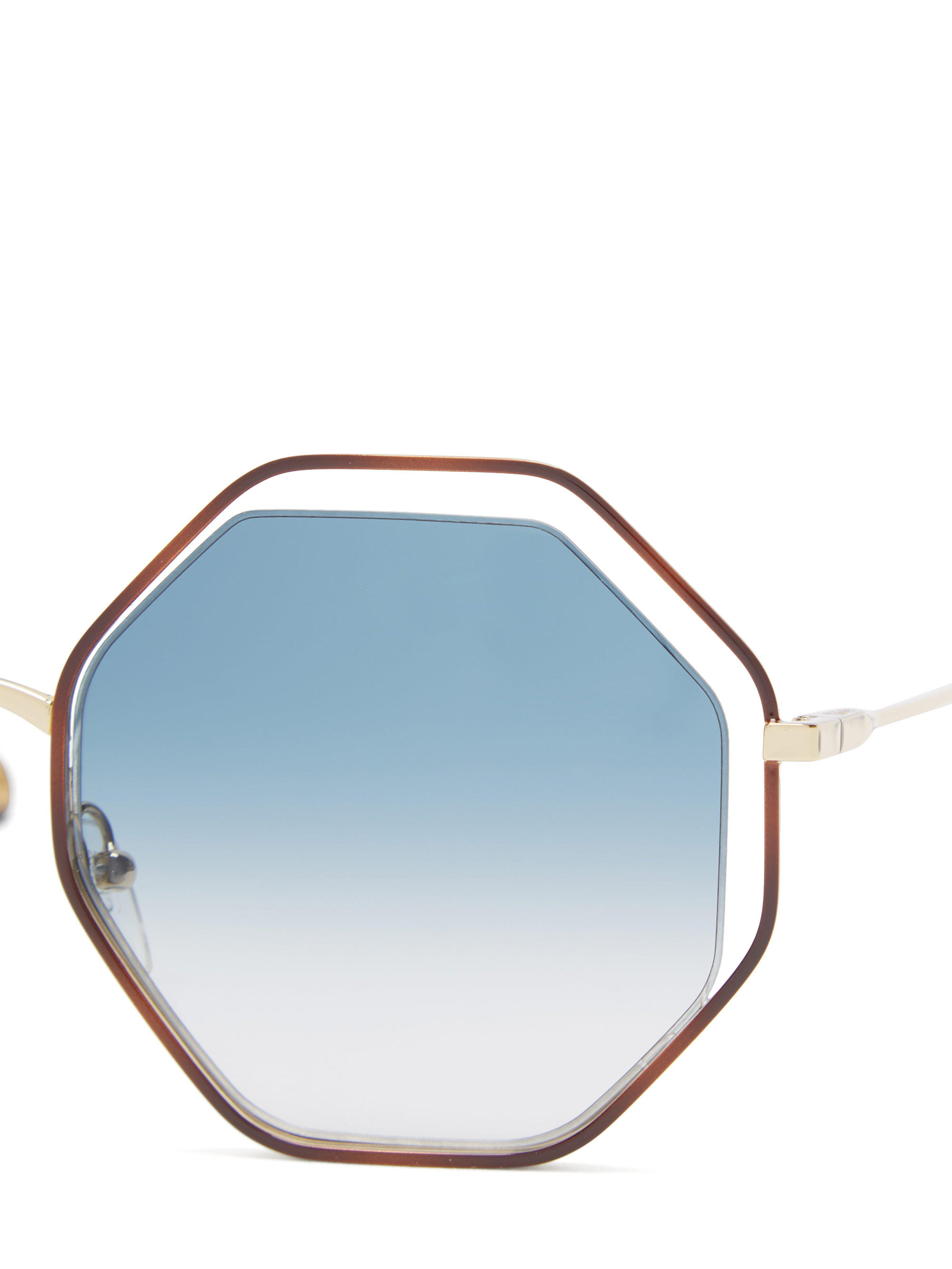 171b8a84245 Chloé - Blue Poppy Octagonal Framed Sunglasses - Lyst. View fullscreen