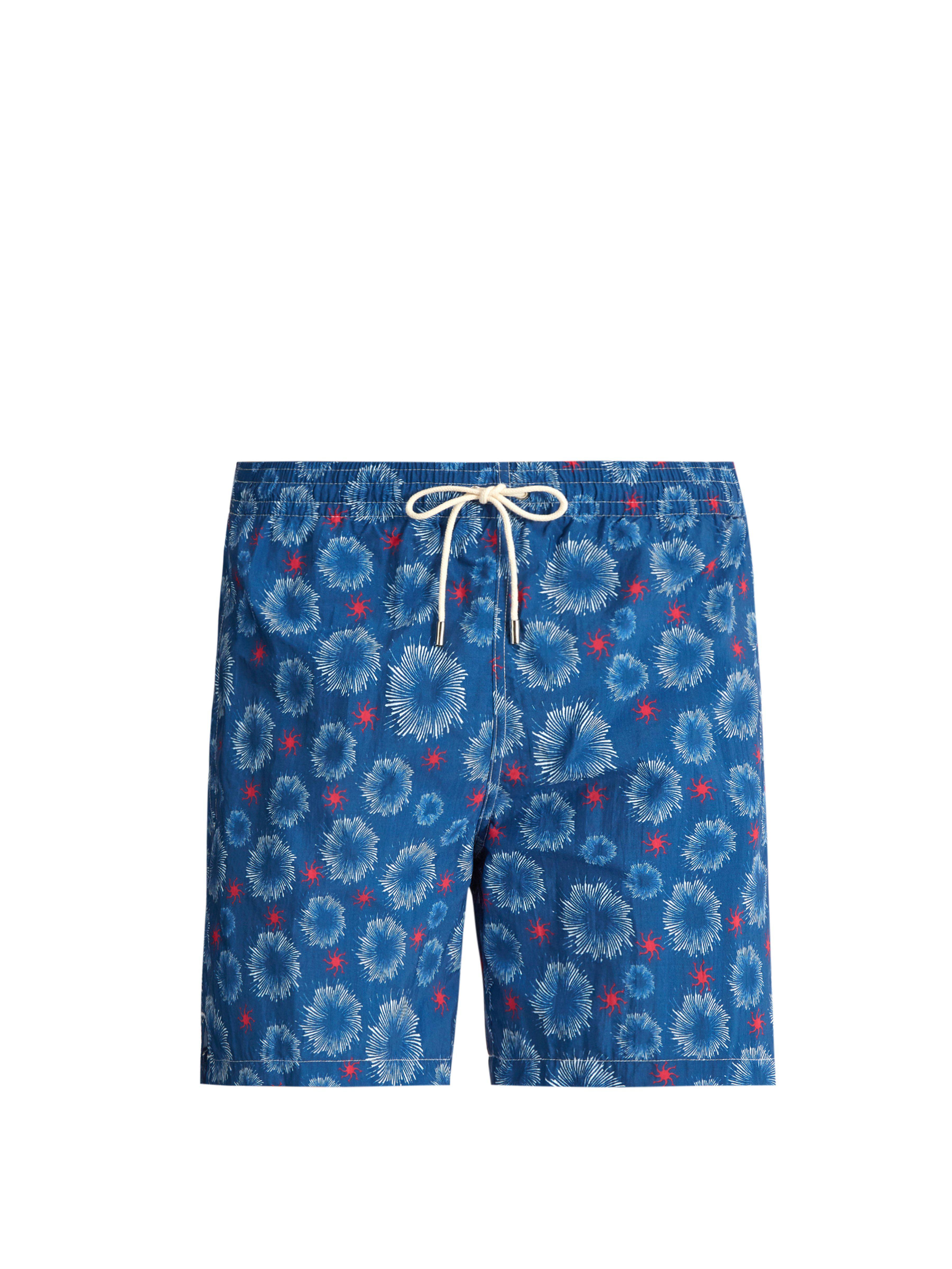 2e8125d0415 Le Sirenuse. Short de bain à imprimé étoile de mer homme de coloris bleu