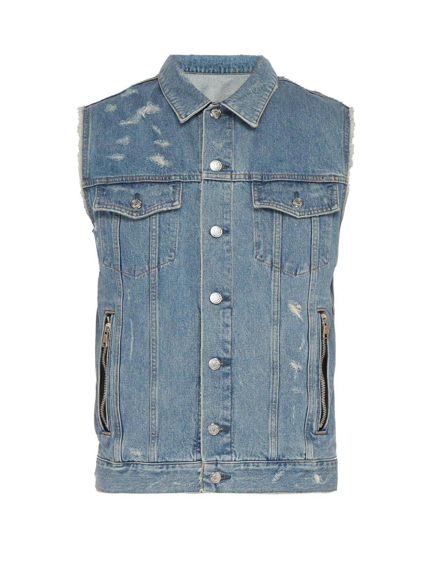 970e34dfa4fbf3 Lyst - Balmain Distressed Sleeveless Denim Jacket in Blue for Men