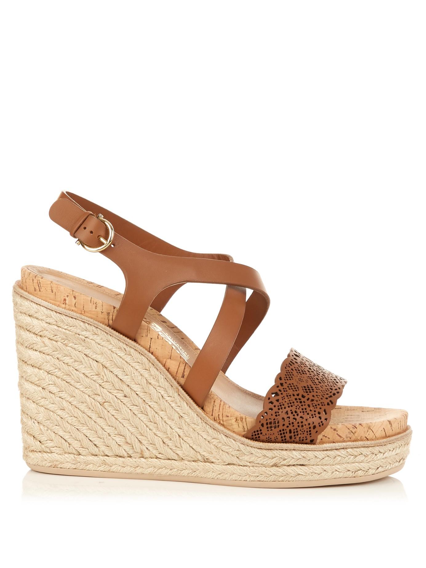 c5100f6c66f Ferragamo Gioela Espadrille Wedge Sandals in Brown - Lyst