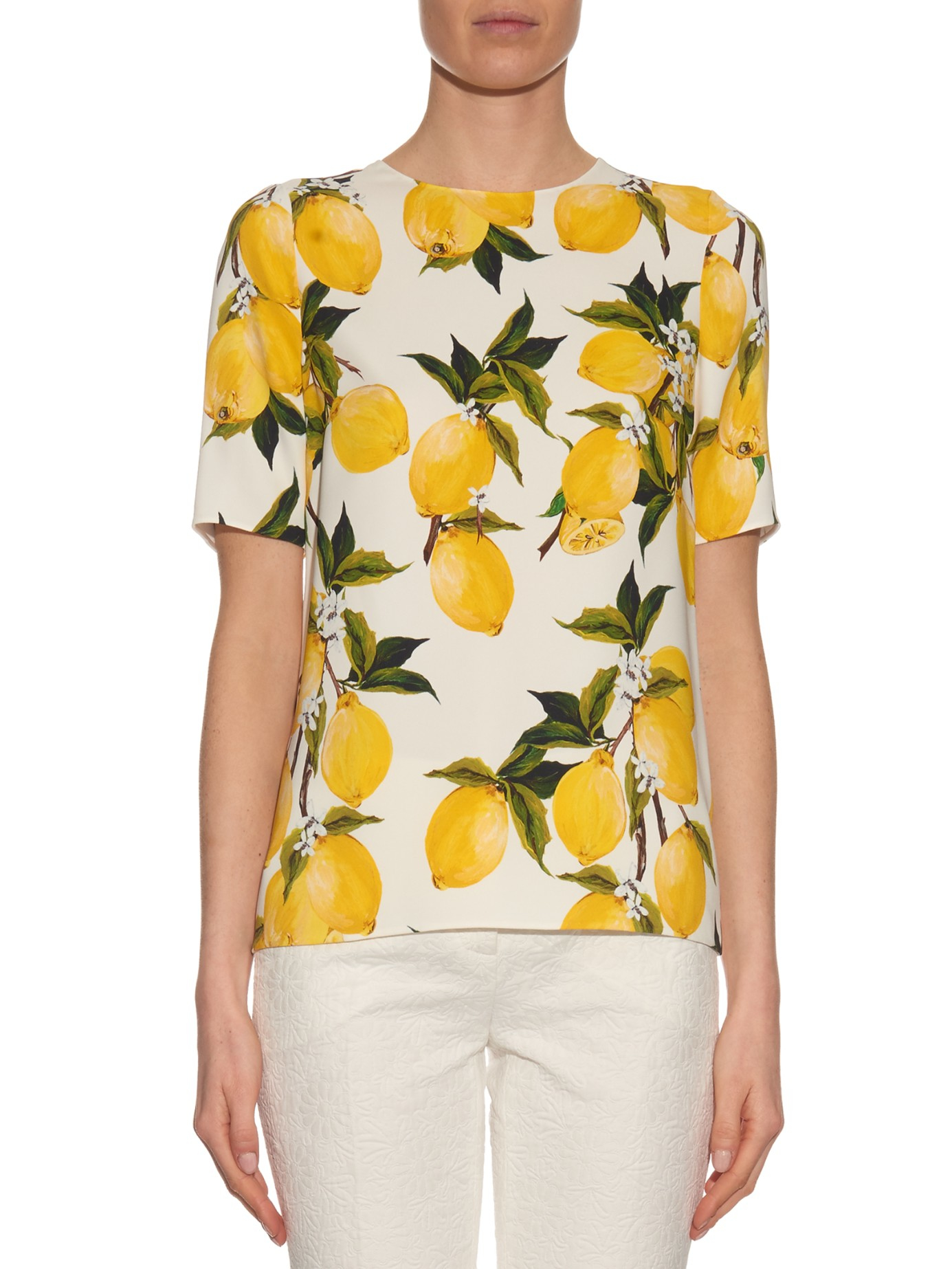Lyst - Dolce   Gabbana Lemon-print Floral Short-sleeved Top in White 0ec20d5a08433