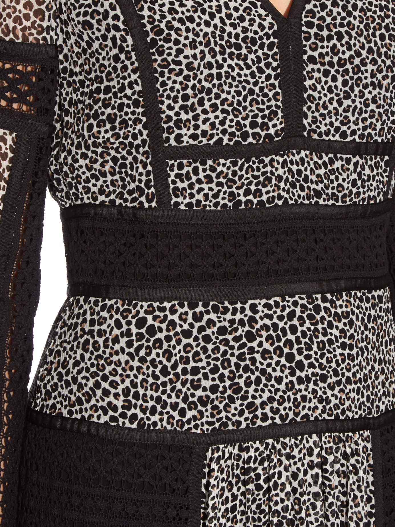 b21b2c950d303 Lyst - Burberry Lace And Leopard-print Panelled Silk Dress in Black