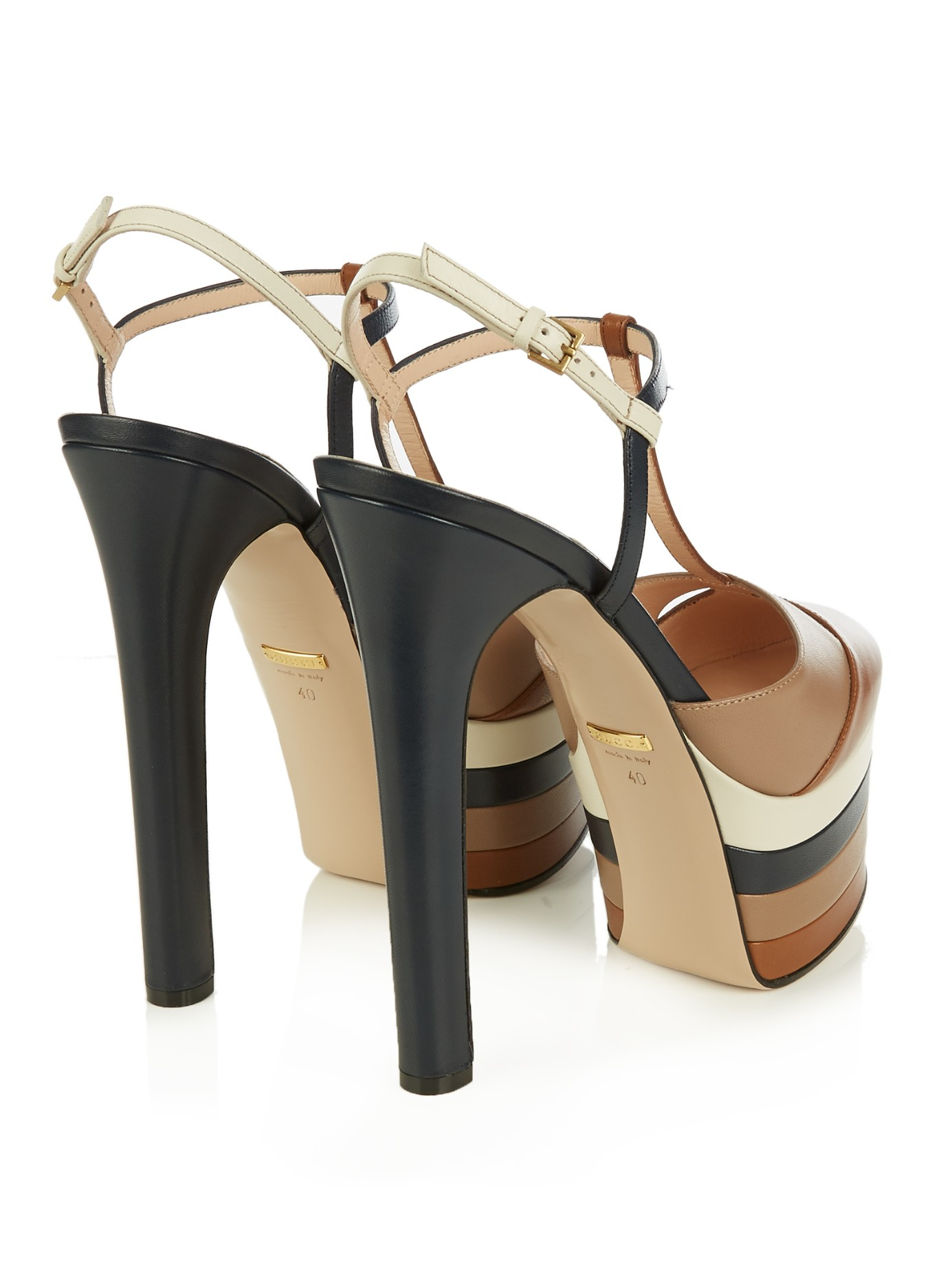 cc414a18fa Gucci Angel Leather Striped Platform Sandals in Brown - Lyst