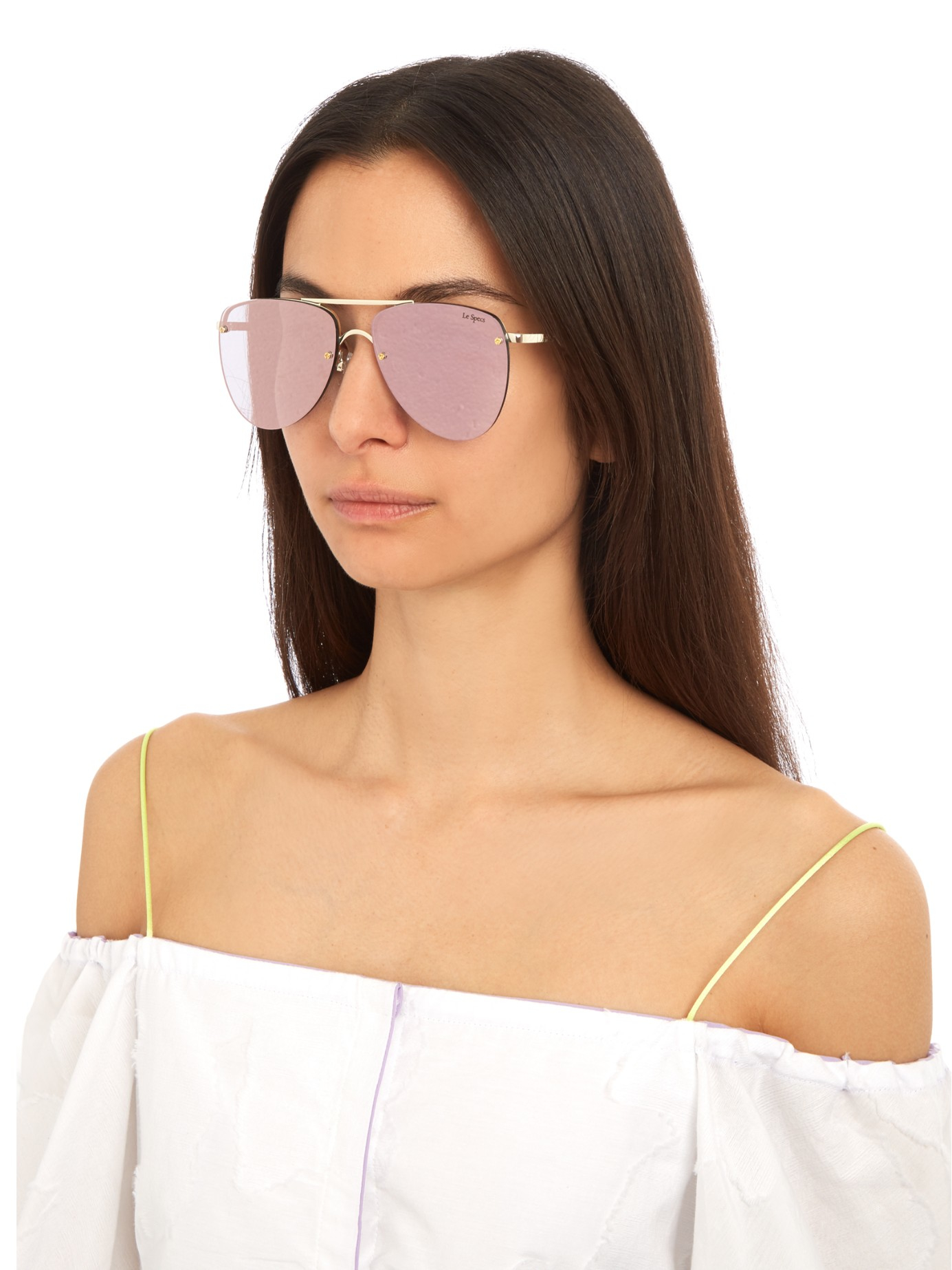 d996eed12f Lyst - Le Specs The Prince Aviator Sunglasses in Pink
