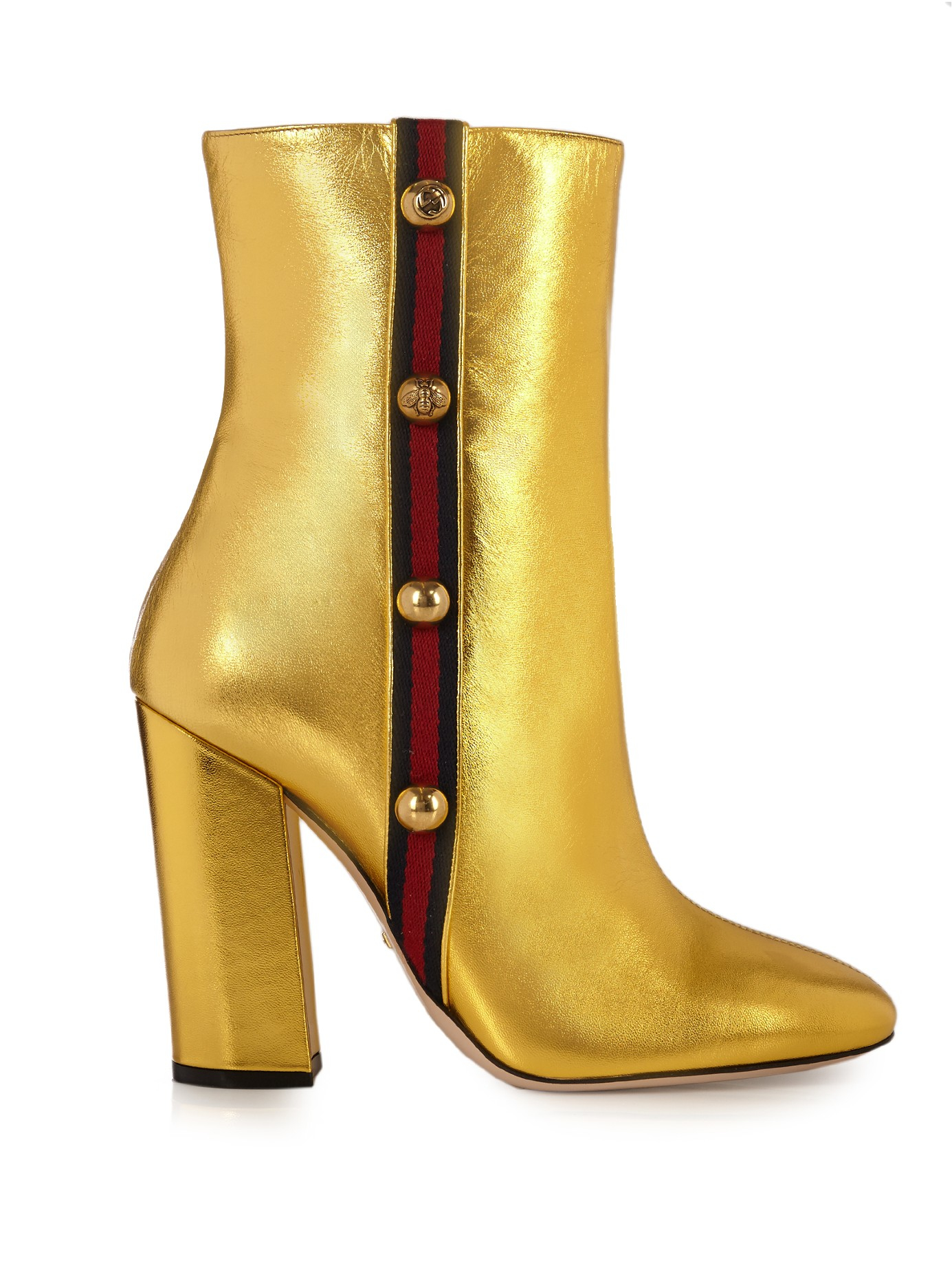 7910ec6ef Gucci Carly Leather Boots in Metallic - Lyst