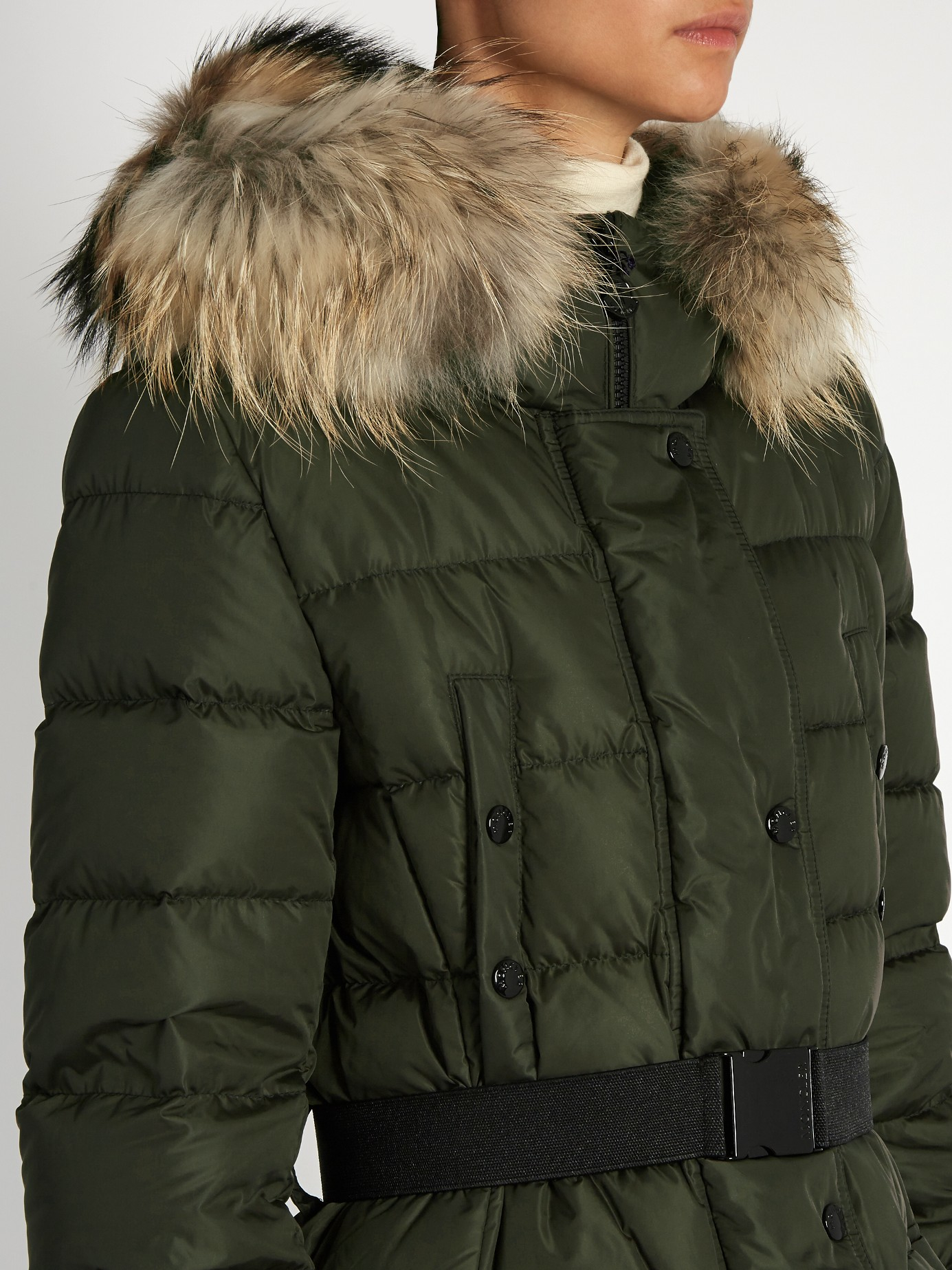 lyst moncler khloe fur trimmed quilted down coat in natural rh lyst com