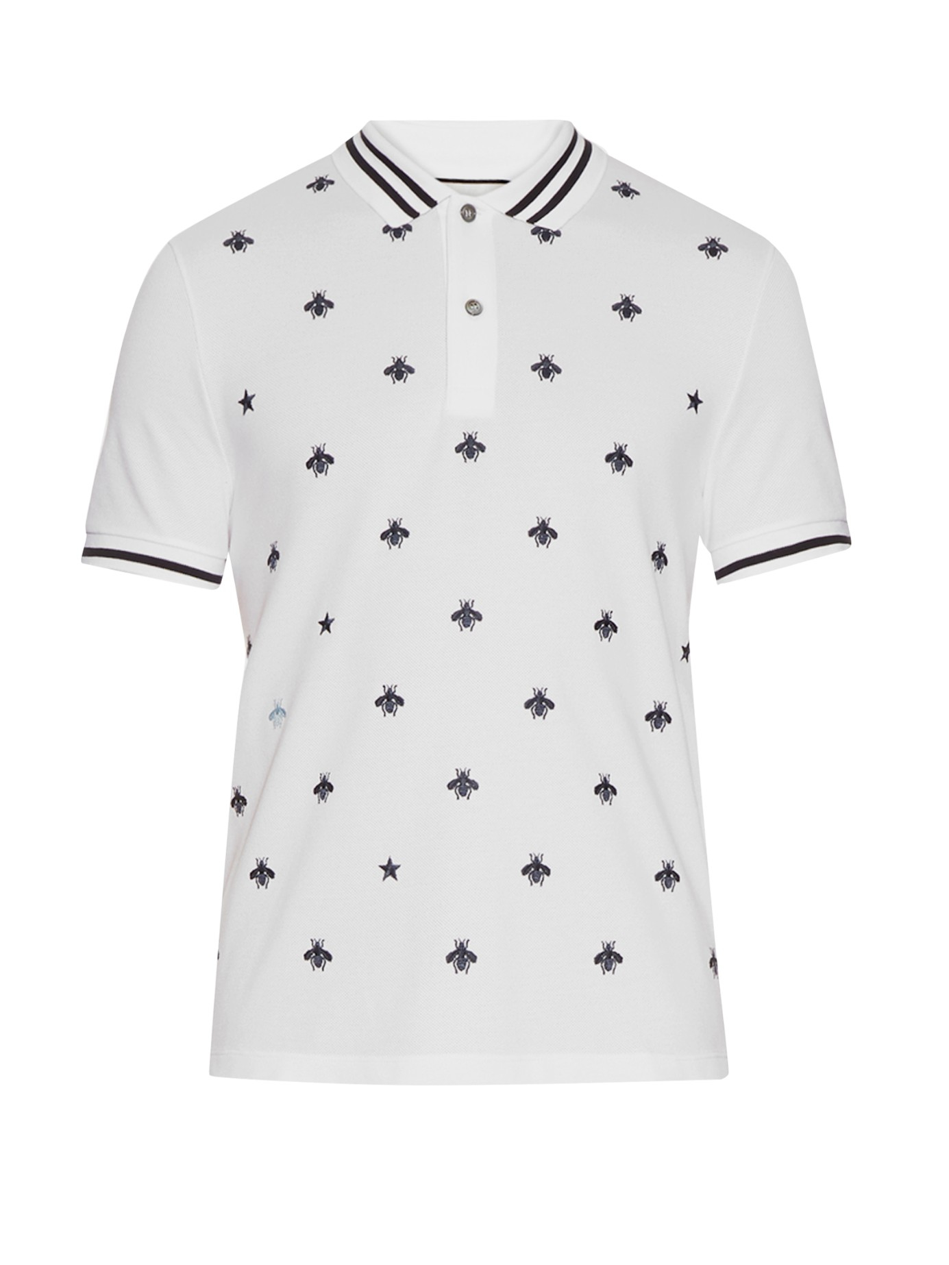 d198df589 Gucci Bee And Star-embroidered Cotton Polo Shirt in Black for Men - Lyst