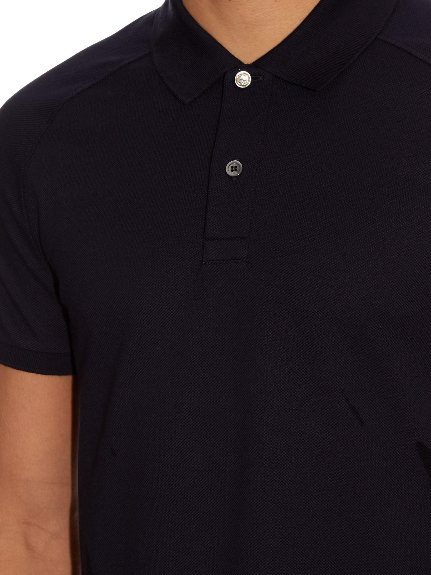 412d8811055 Gucci Snake-appliqué Cotton-blend Polo Shirt in Blue for Men - Lyst