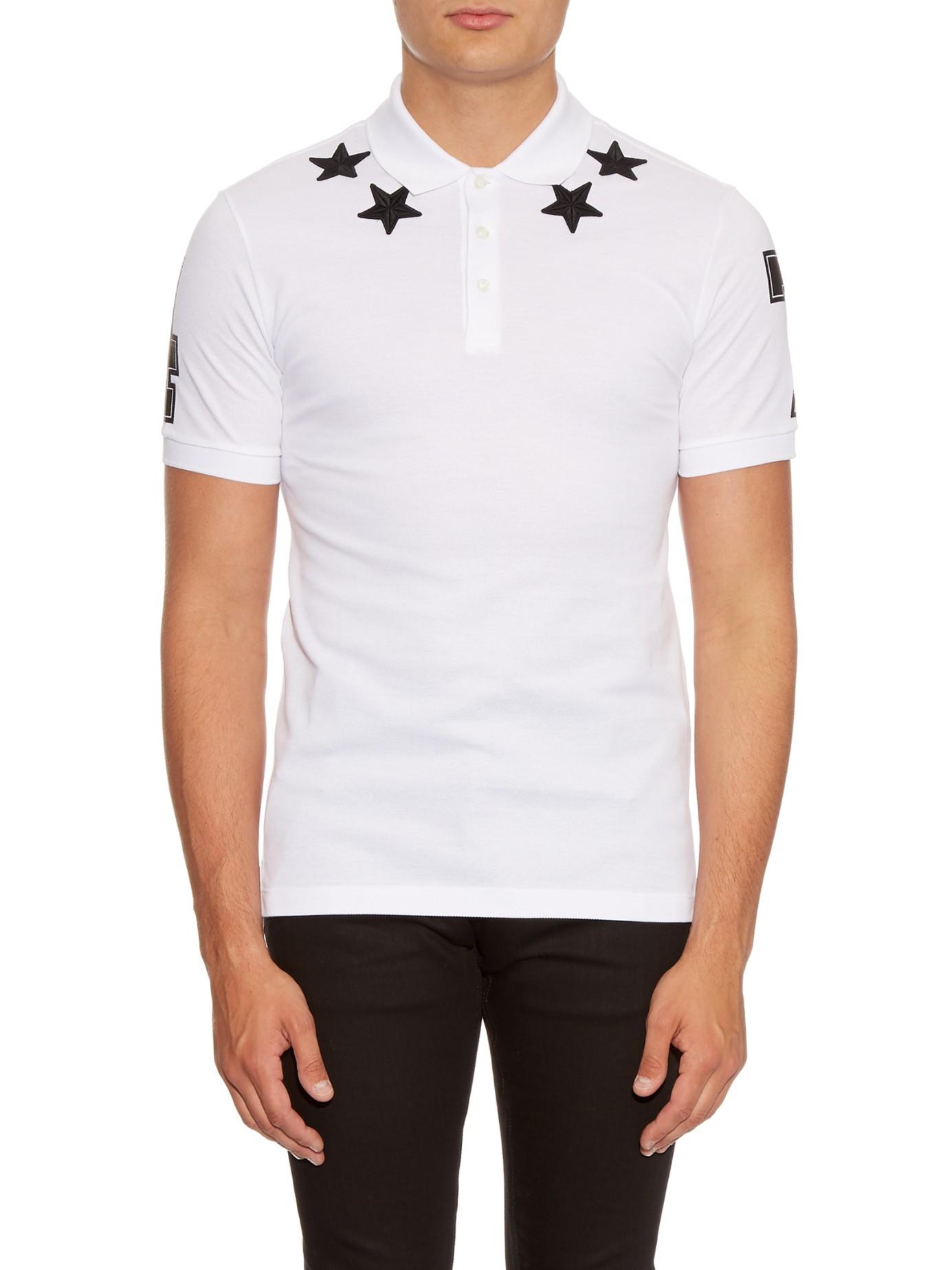e44e2e33 Lyst - Givenchy Cuban-fit Star-appliqué Polo Shirt in White for Men