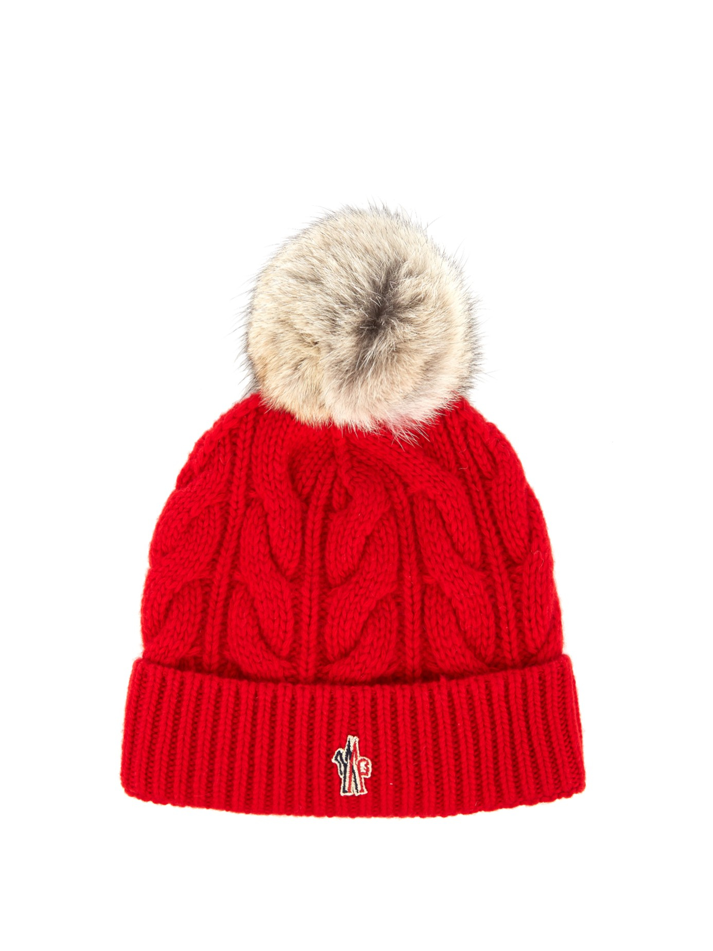 Lyst - Moncler Grenoble Fur-pompom Knitted Beanie Hat in Red 870553478b29