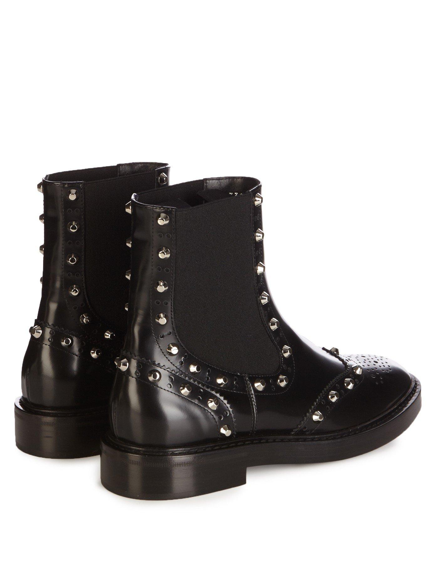 balenciaga studded chelsea brogue boots in black lyst. Black Bedroom Furniture Sets. Home Design Ideas