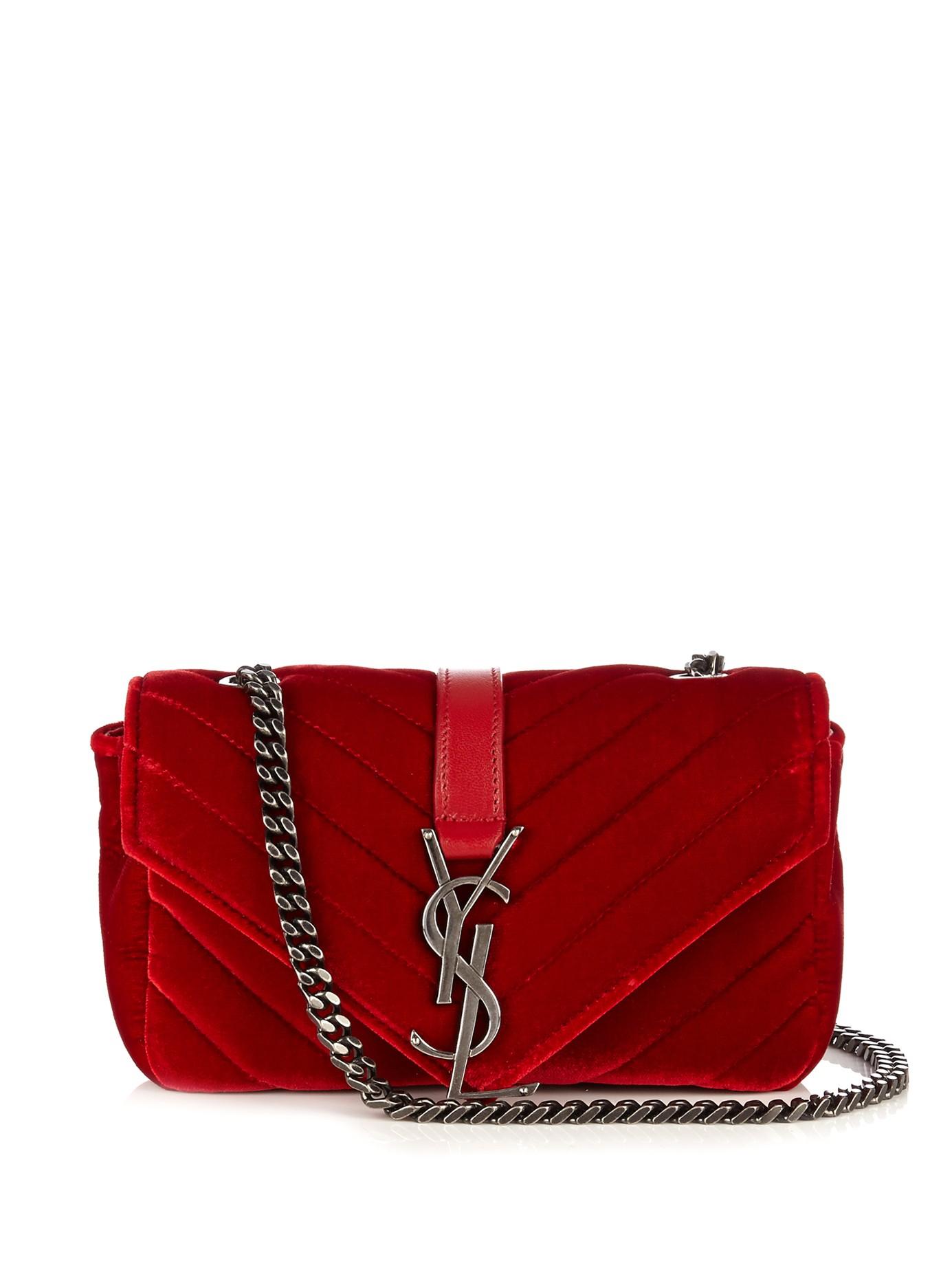 fc2638636a70 Lyst - Saint Laurent Monogram Baby Quilted-Velvet Crossbody Bag in Red