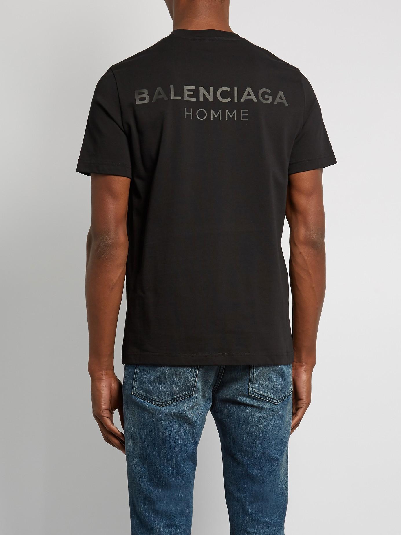 lyst balenciaga logo print cotton t shirt in black for men