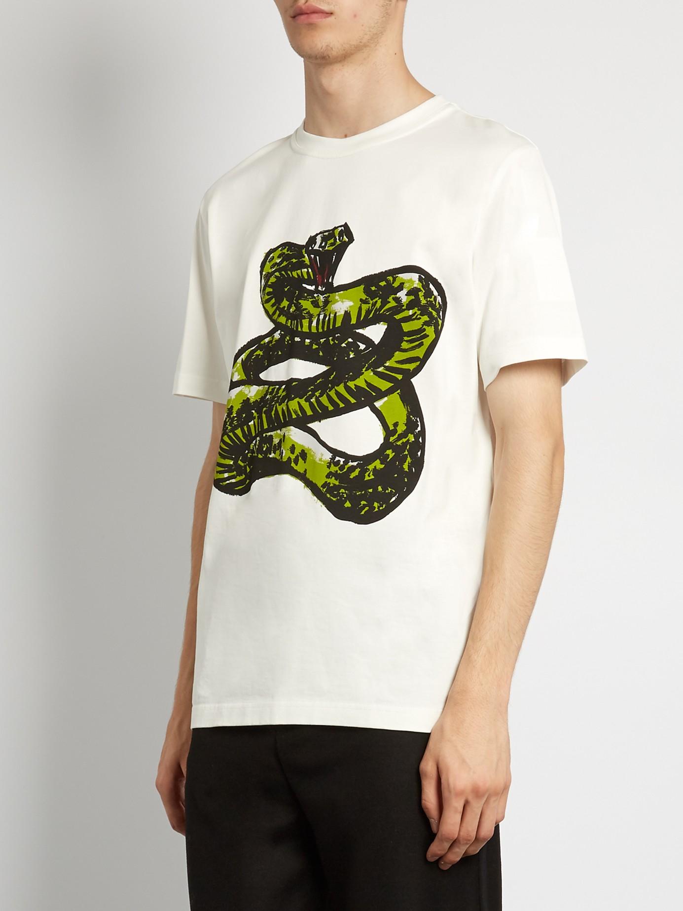 Lyst Balenciaga Snake Print Cotton Jersey T Shirt In