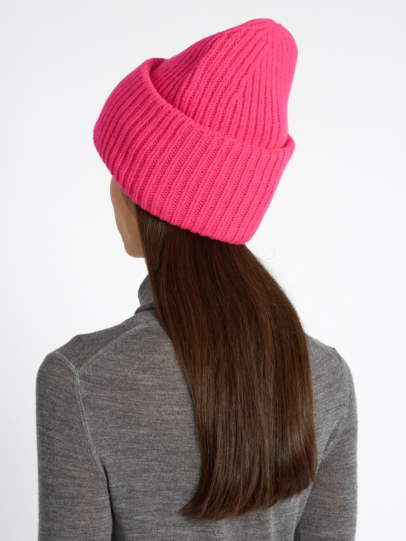 Lyst Acne Studios Pansy Ribbed Knit Wool Beanie Hat In Pink