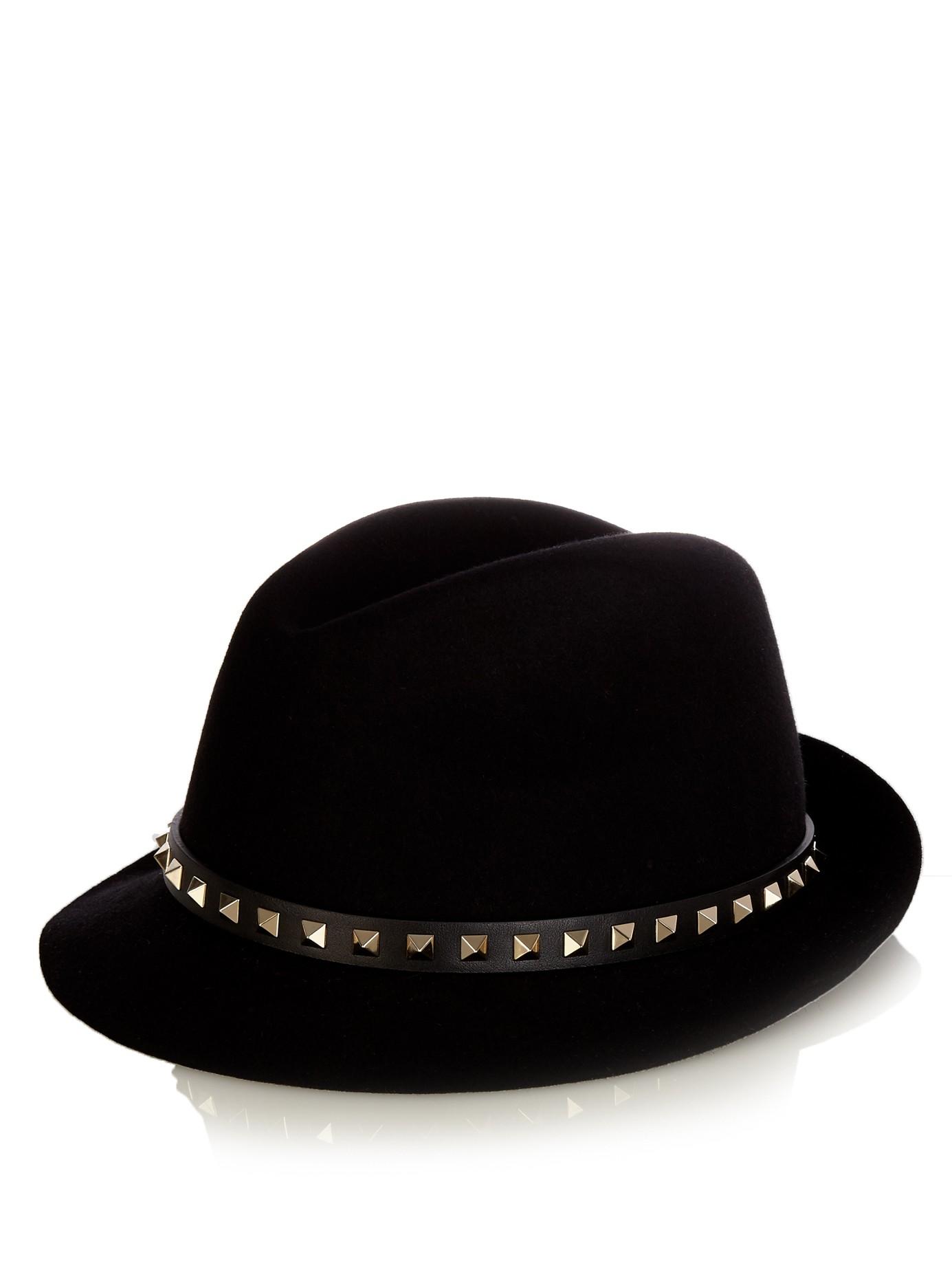 valentino rockstud fur felt trilby hat in black lyst