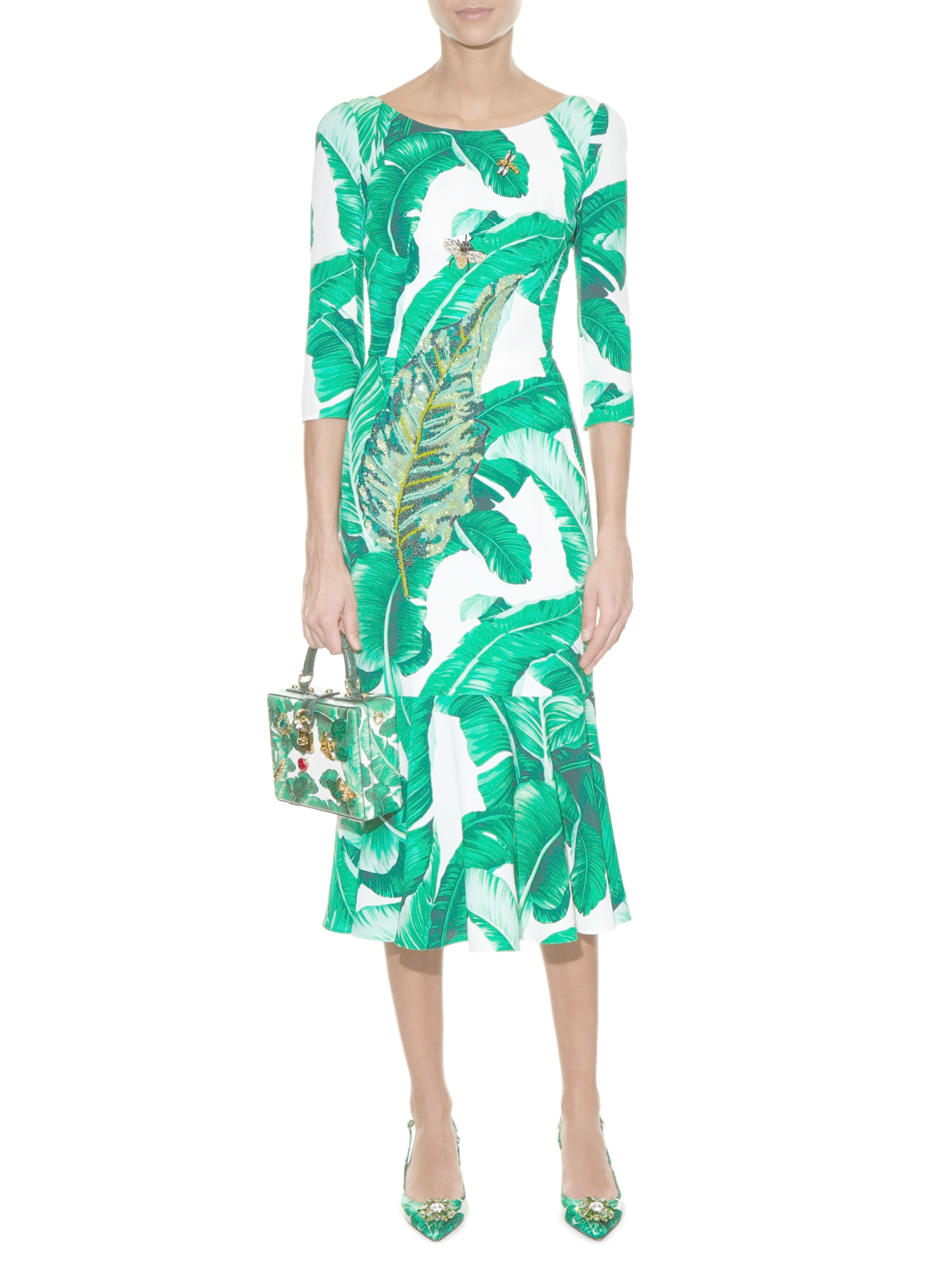 ab947893038f9 Lyst - Dolce   Gabbana Banana Leaf-print Embellished Dress in Green