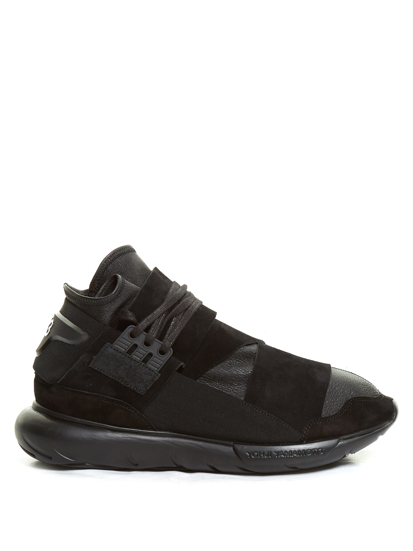 Lyst Y 3 Qasa High Top Leather And Suede Trainers In