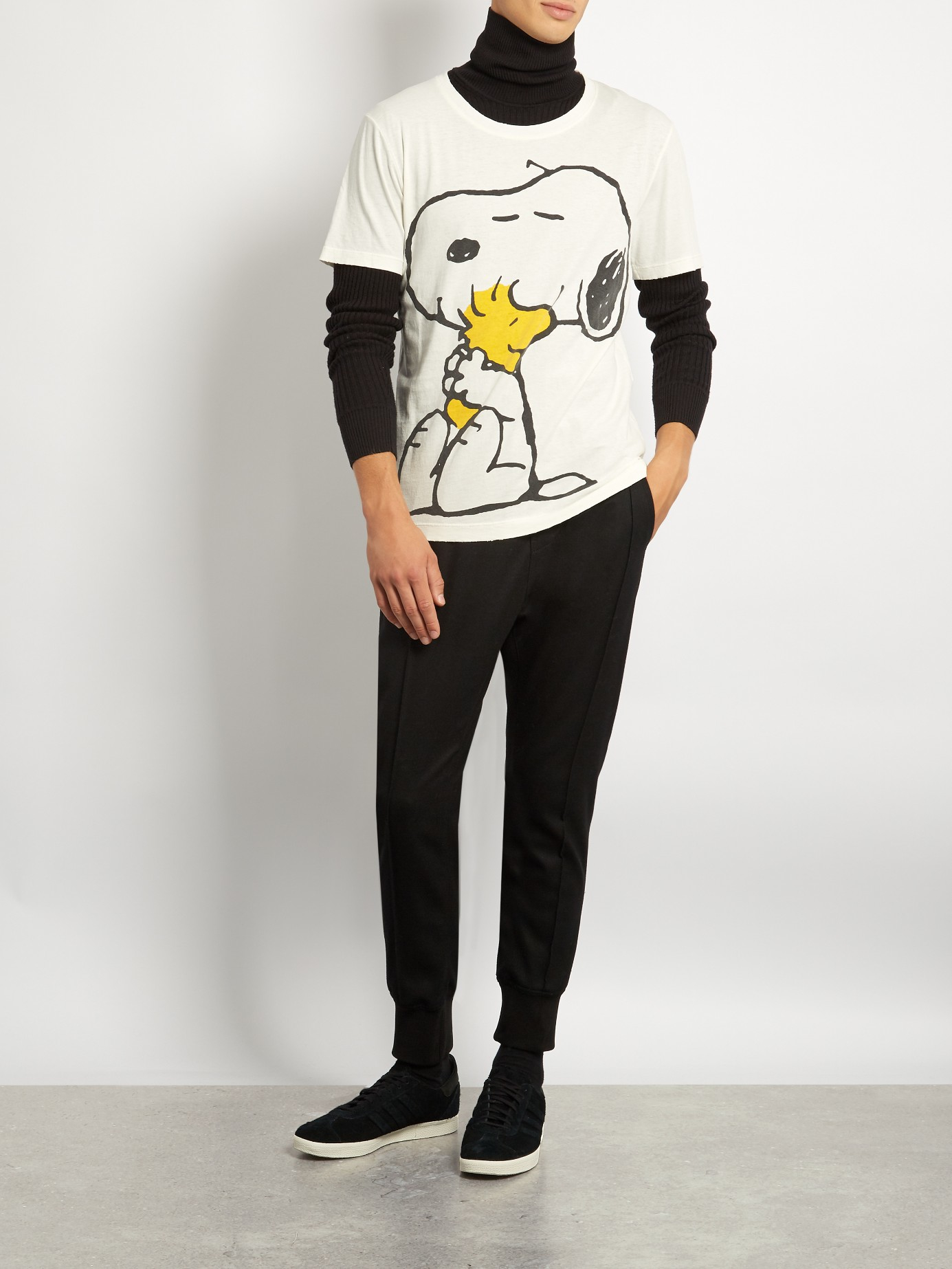 3526a5d0 Gucci Snoopy And Woodstock-print Cotton T-shirt for Men - Lyst