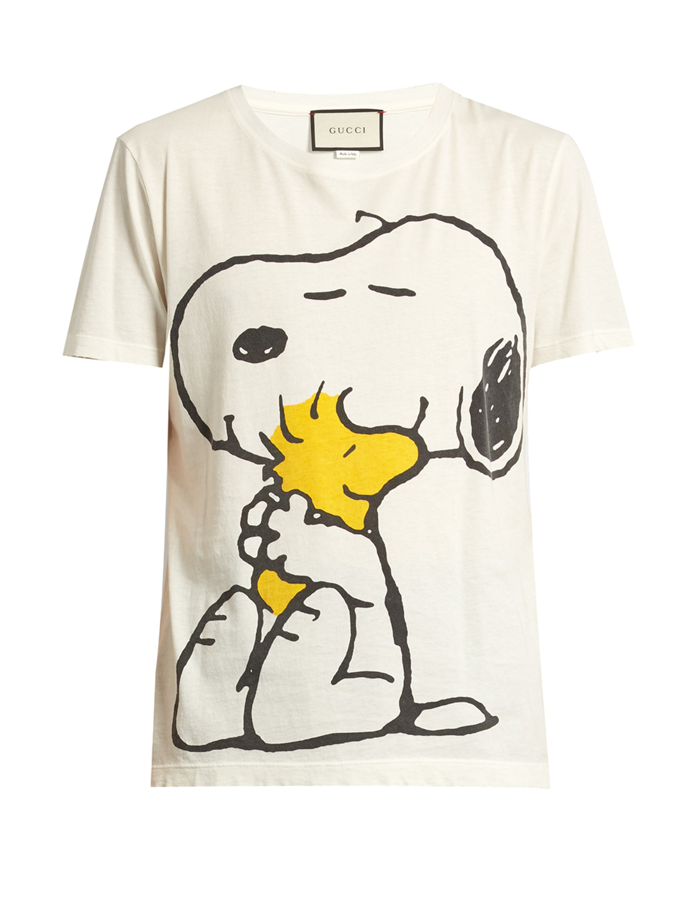lyst - gucci snoopy and woodstock-print cotton t-shirt for men